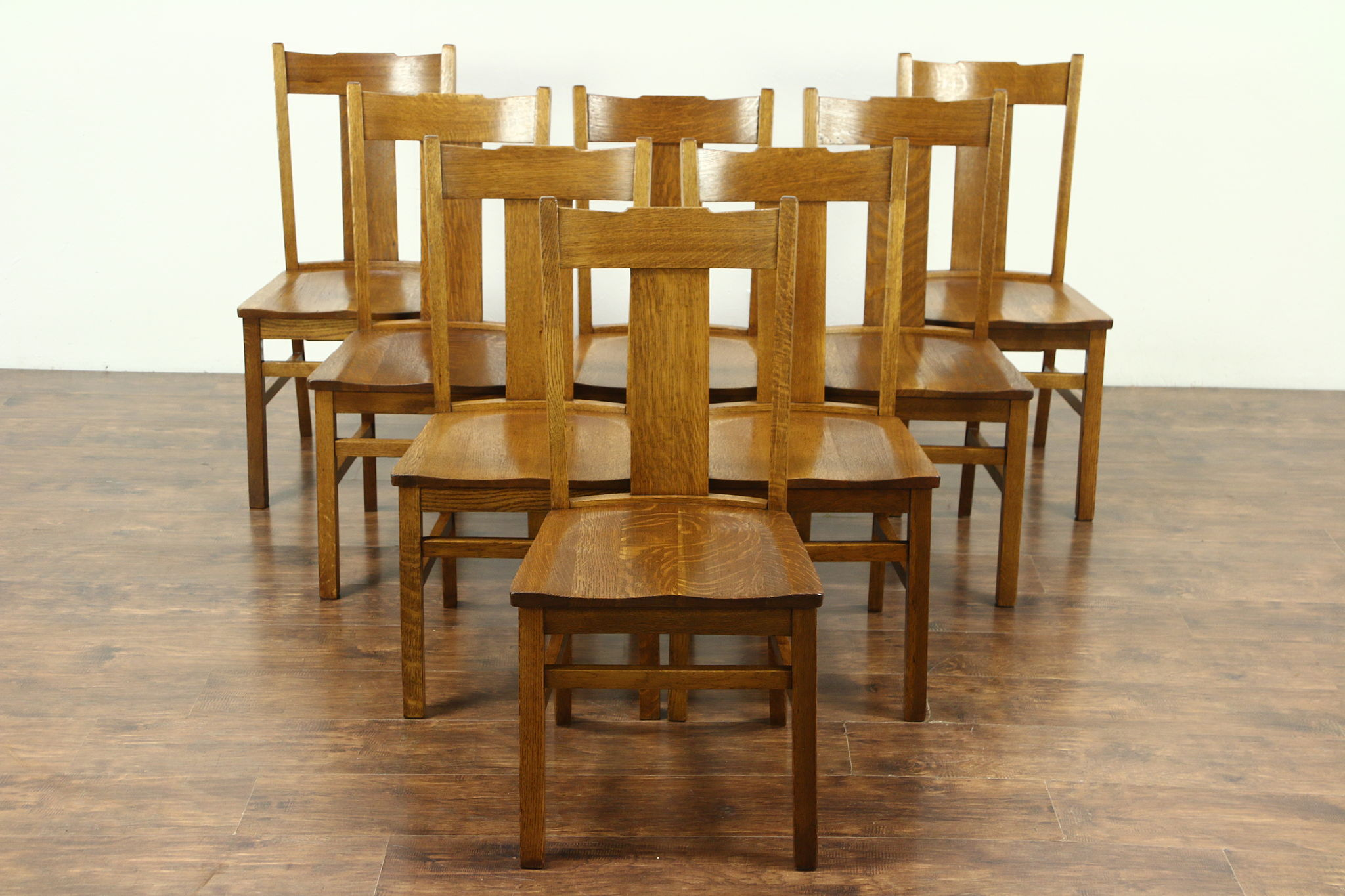 Sold Set Of 8 Arts Crafts Mission Oak Antique 1910 Craftsman Dining Chairs Harp Gallery Antiques Furniture