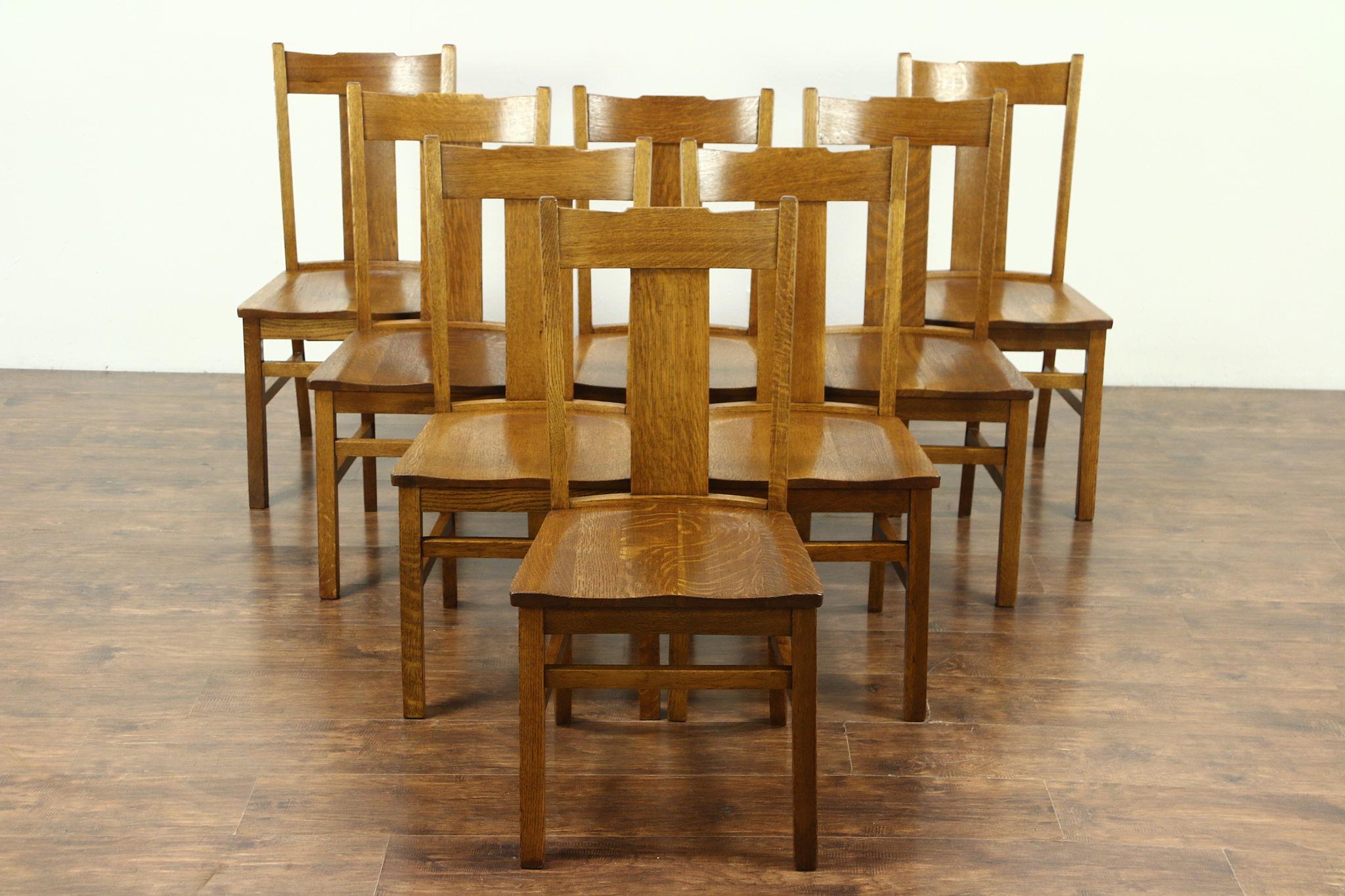 Sold Set Of 8 Arts Crafts Mission Oak Antique 1910 Craftsman