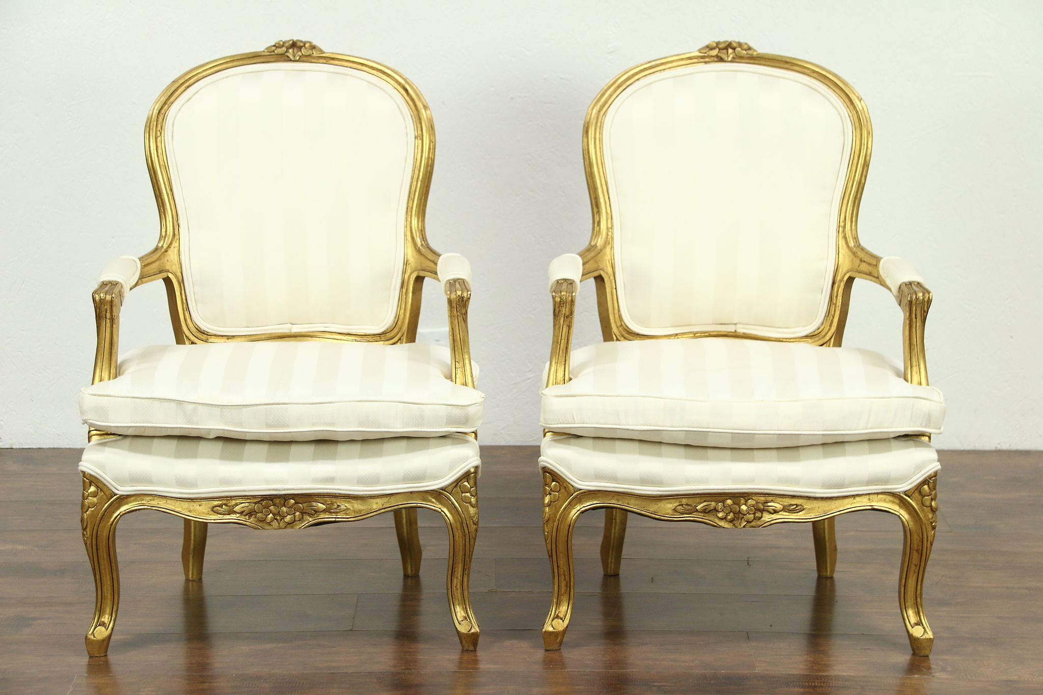Pair Of Carved French Style Chairs Deep Gold Finish Harp Gallery