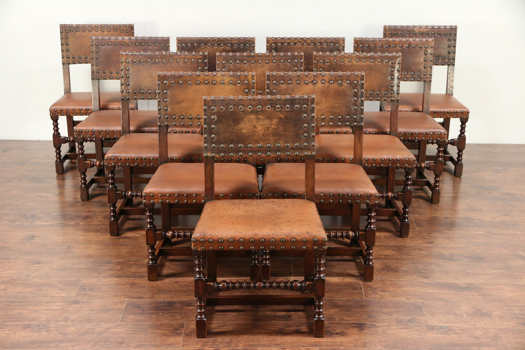 Set Of 12 Oak Antique English Dining Chairs Leather Waring