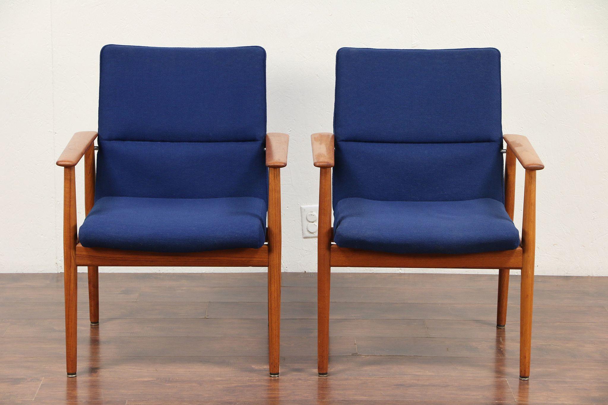 Pair Of Danish Midcentury Modern Vintage Teak Chairs Signed Sibast