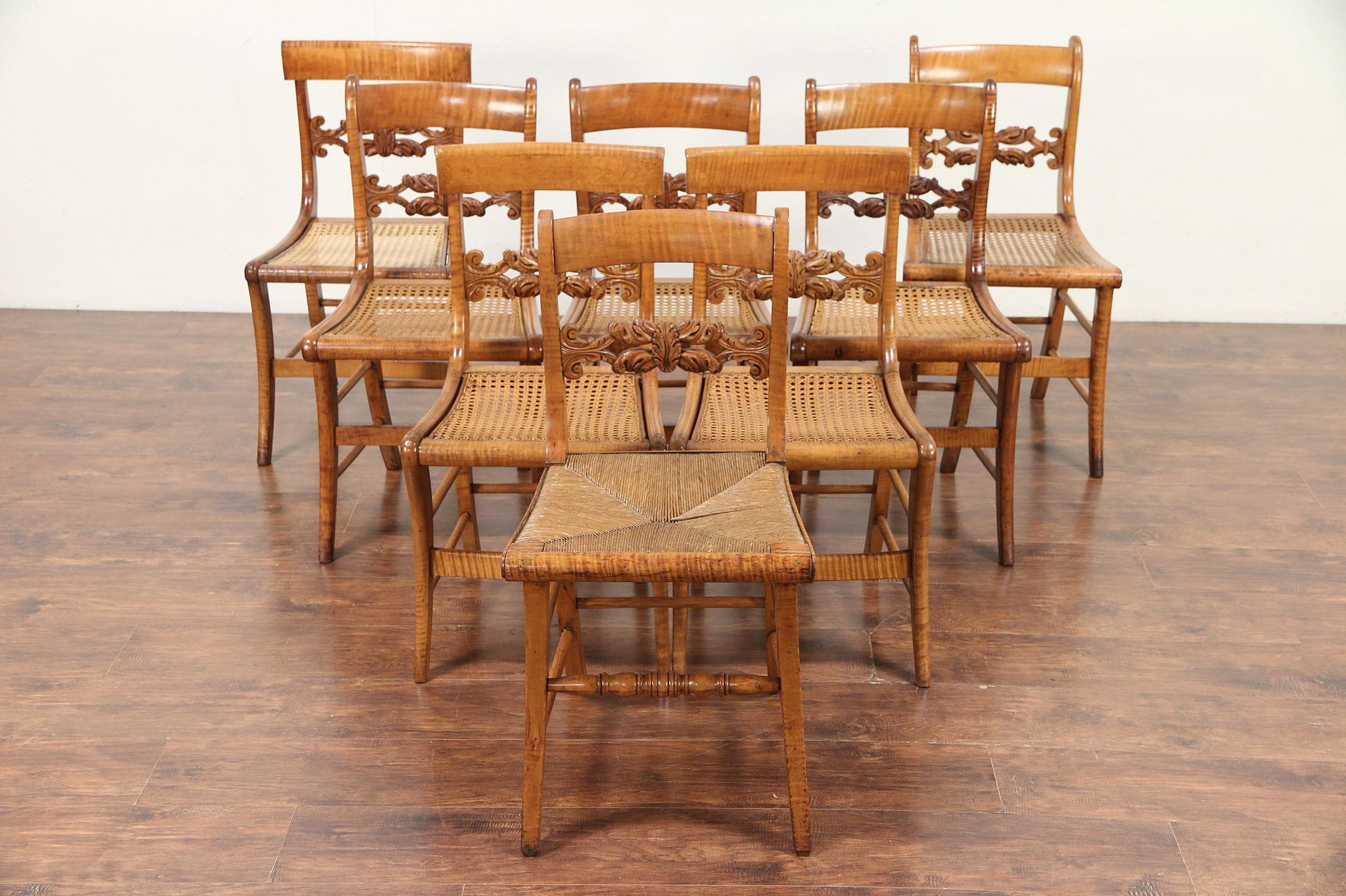 wholesale dealer 3c4e3 45356 Set of 8 Antique 1825 Curly Tiger Maple Greek Revival Dining Chairs #29785