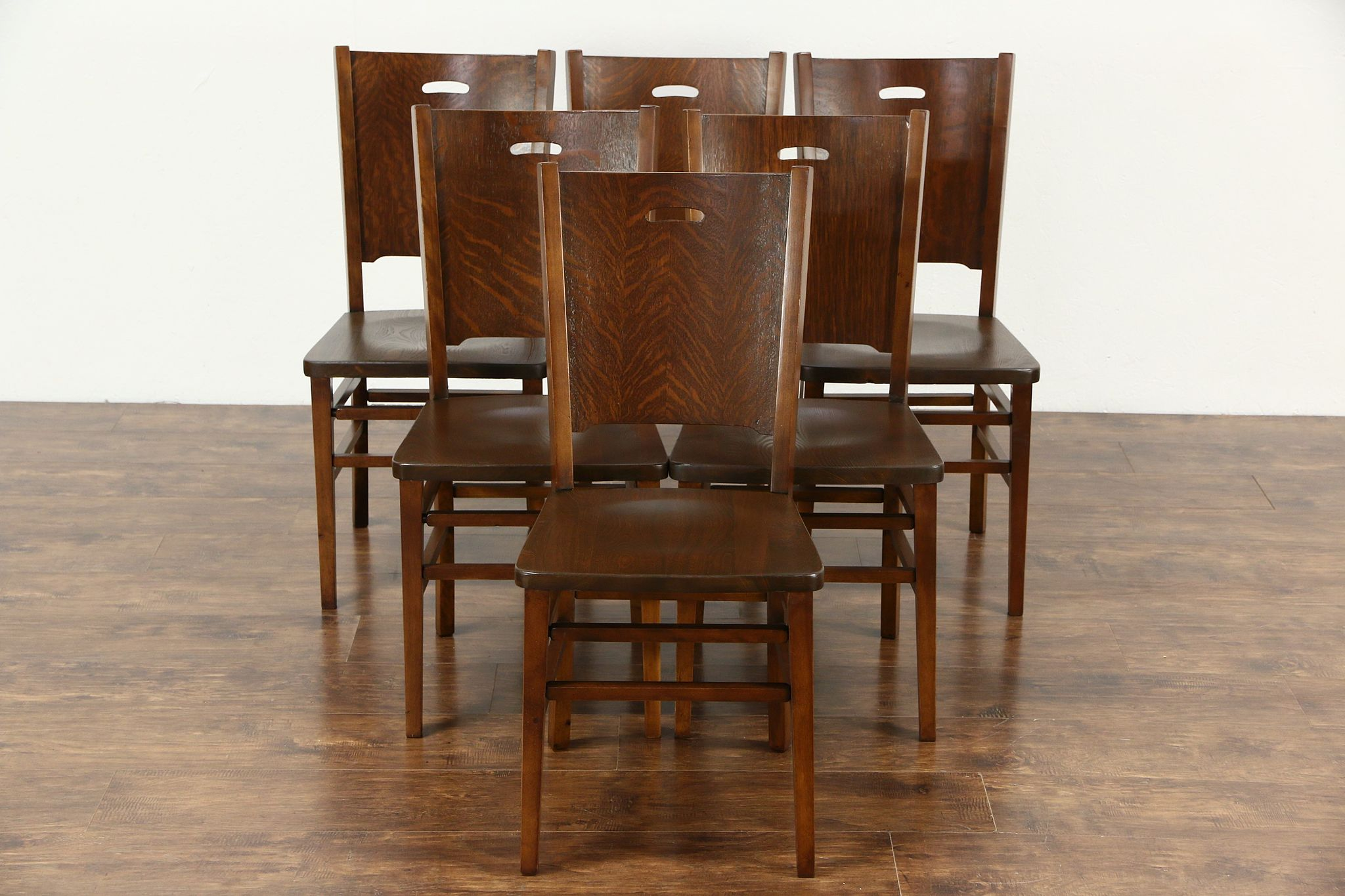 Arts and crafts chairs - Set Of 6 Arts Crafts Mission Oak 1900 Antique Craftsman Dining Chairs