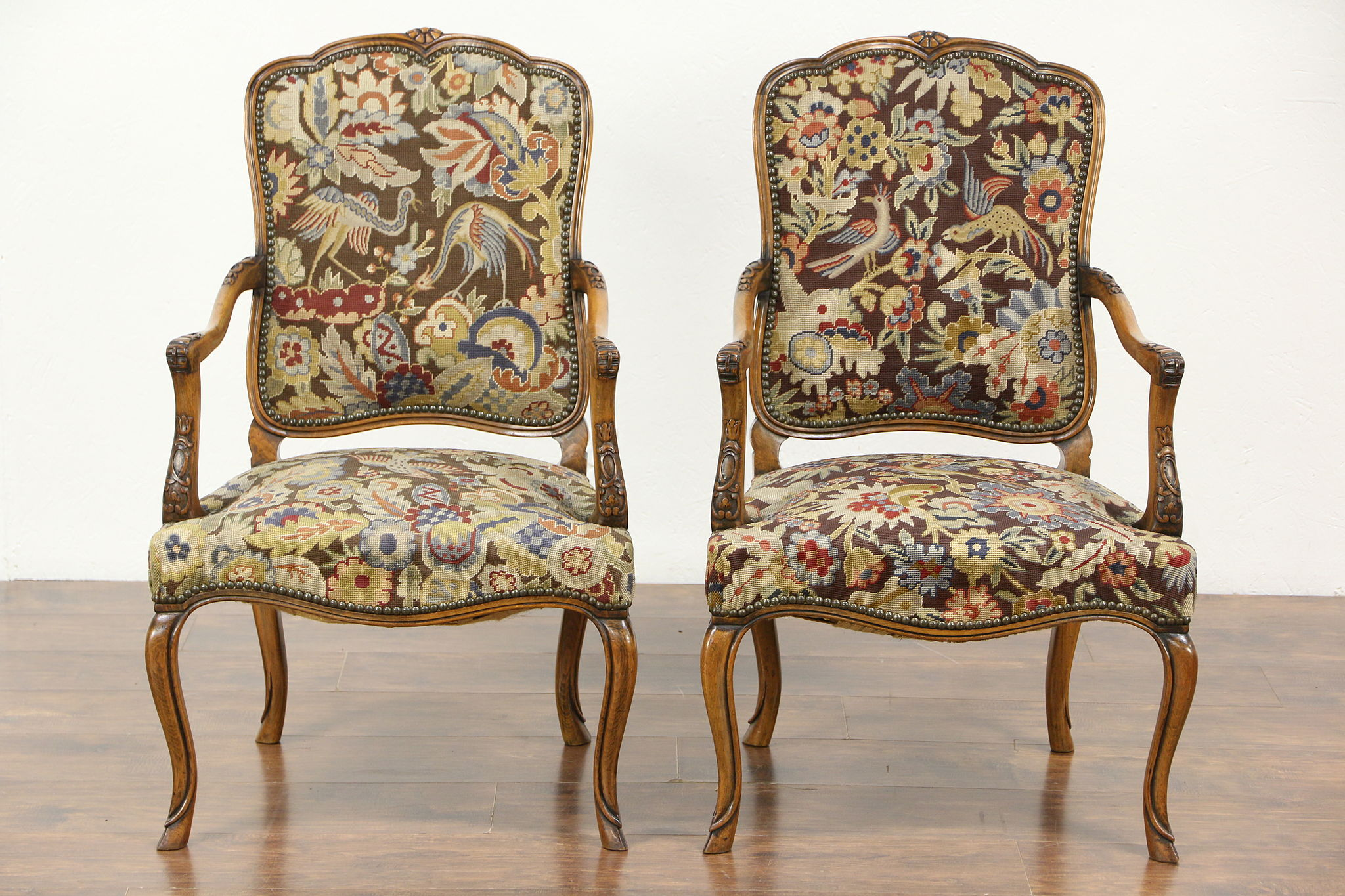 Pair of Carved Antique Scandinavian Chairs Needlepoint Petit