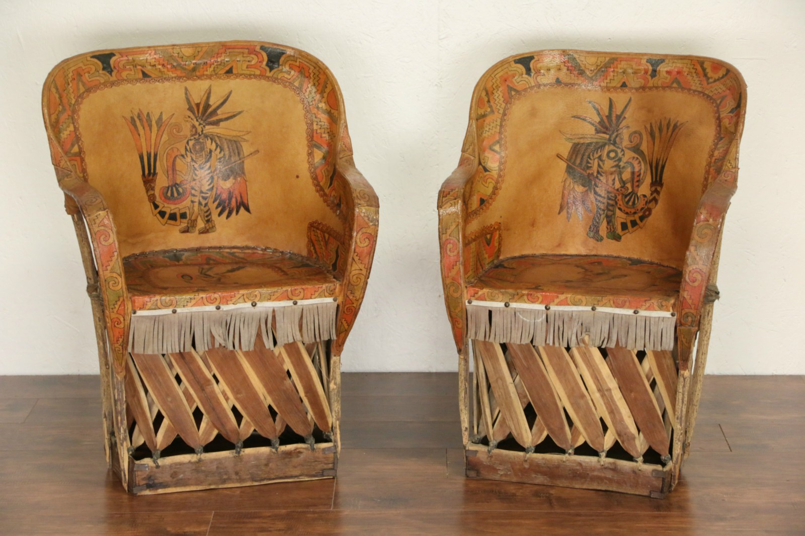Southwest Pair Of Mexican Aztec Motif Painted Leather Chairs 1930 S Vintage Photo