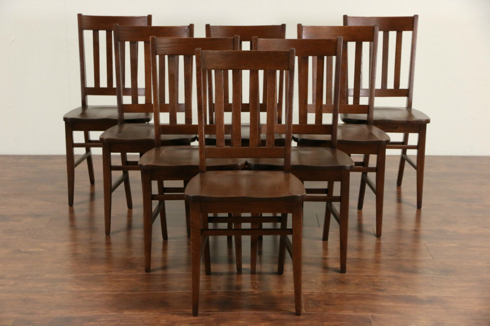 Arts Crafts Style Set Of 8 Vintage Quarter Sawn Oak Dining Chairs