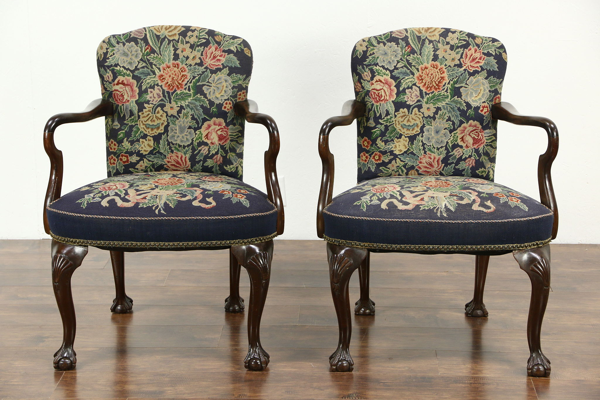 Pair Of 1920u0027s Carved Antique Georgian Chairs With Arms, Needlepoint  Upholstery