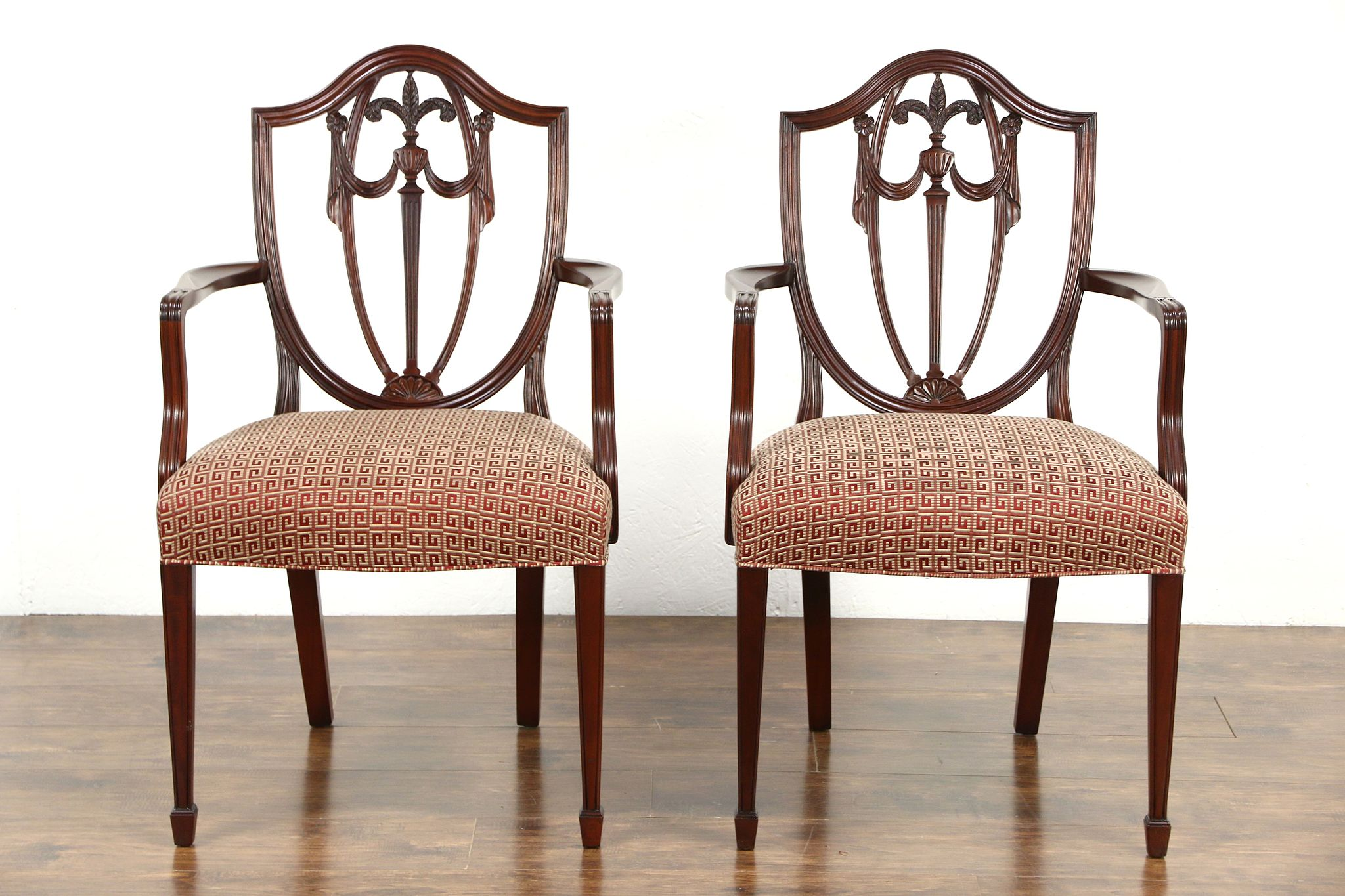 Pair Of Kindel Winterthur Signed Shield Back Dining Or Occasional Chairs W Arms