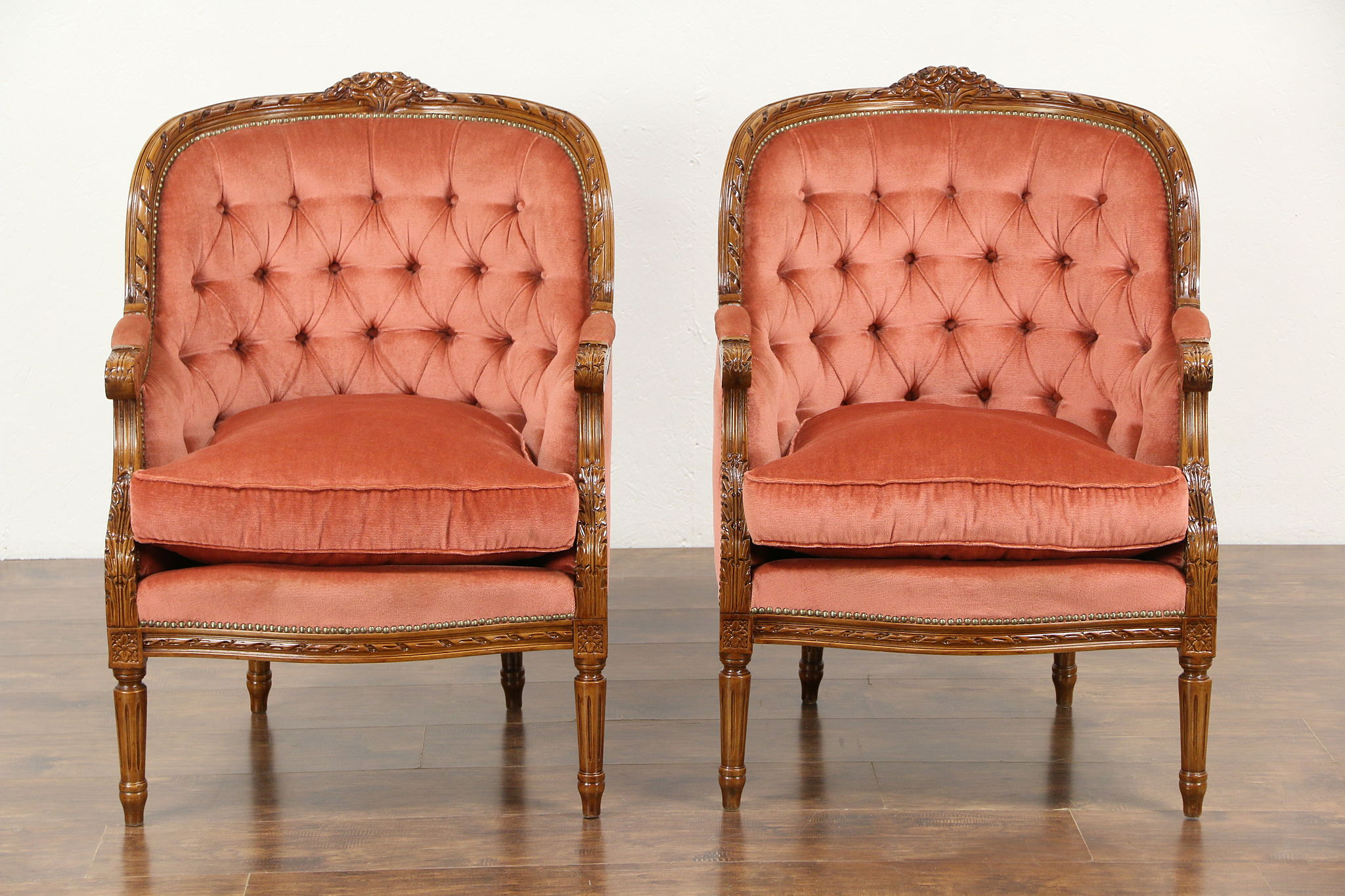 Pair Of French Louis Xvi Style Vintage Carved Chairs Tufted Upholstery