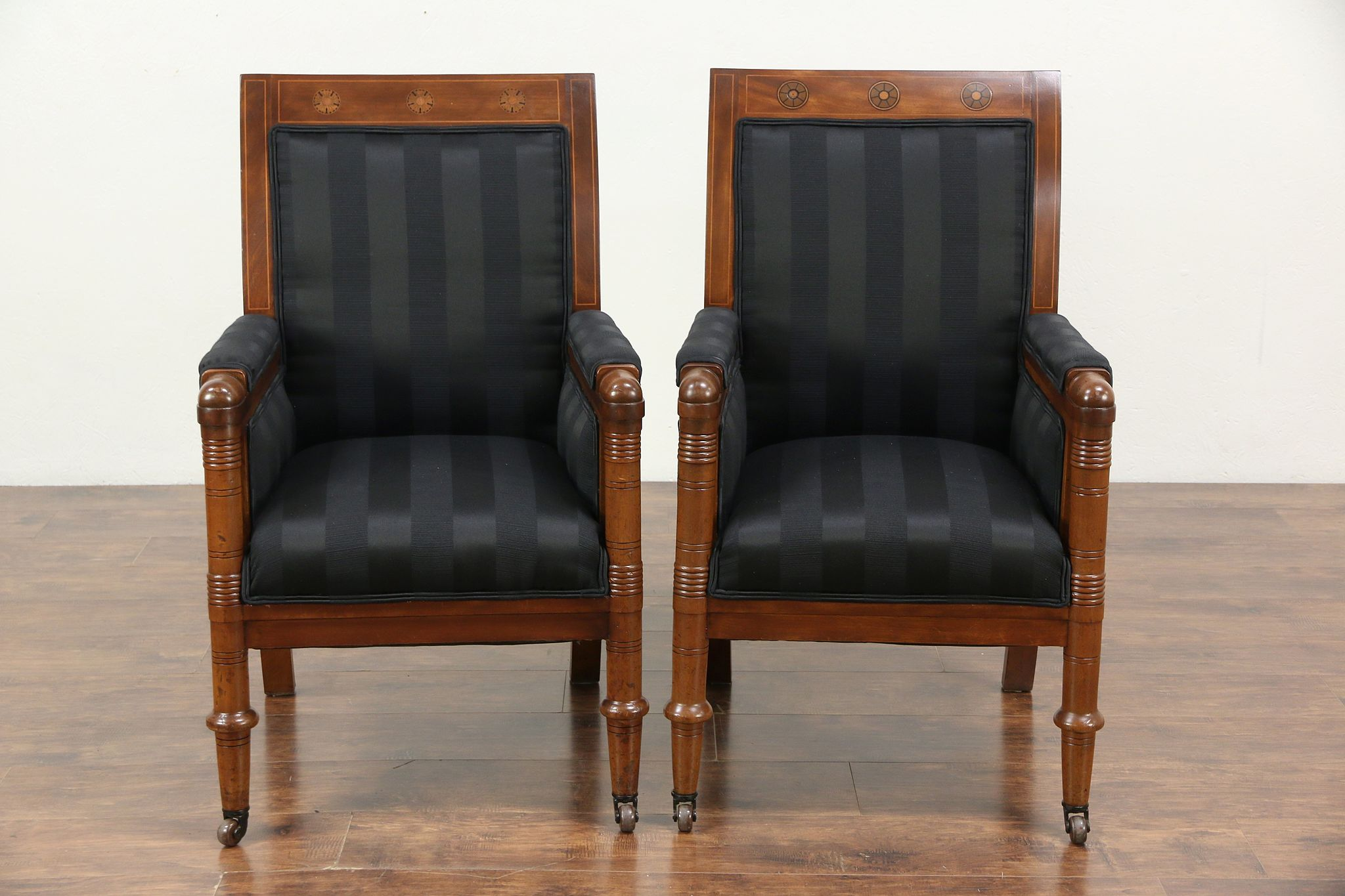 Pair Of Antique 1900 Empire Or Biedermeier Chairs, Denmark, New Upholstery  ...