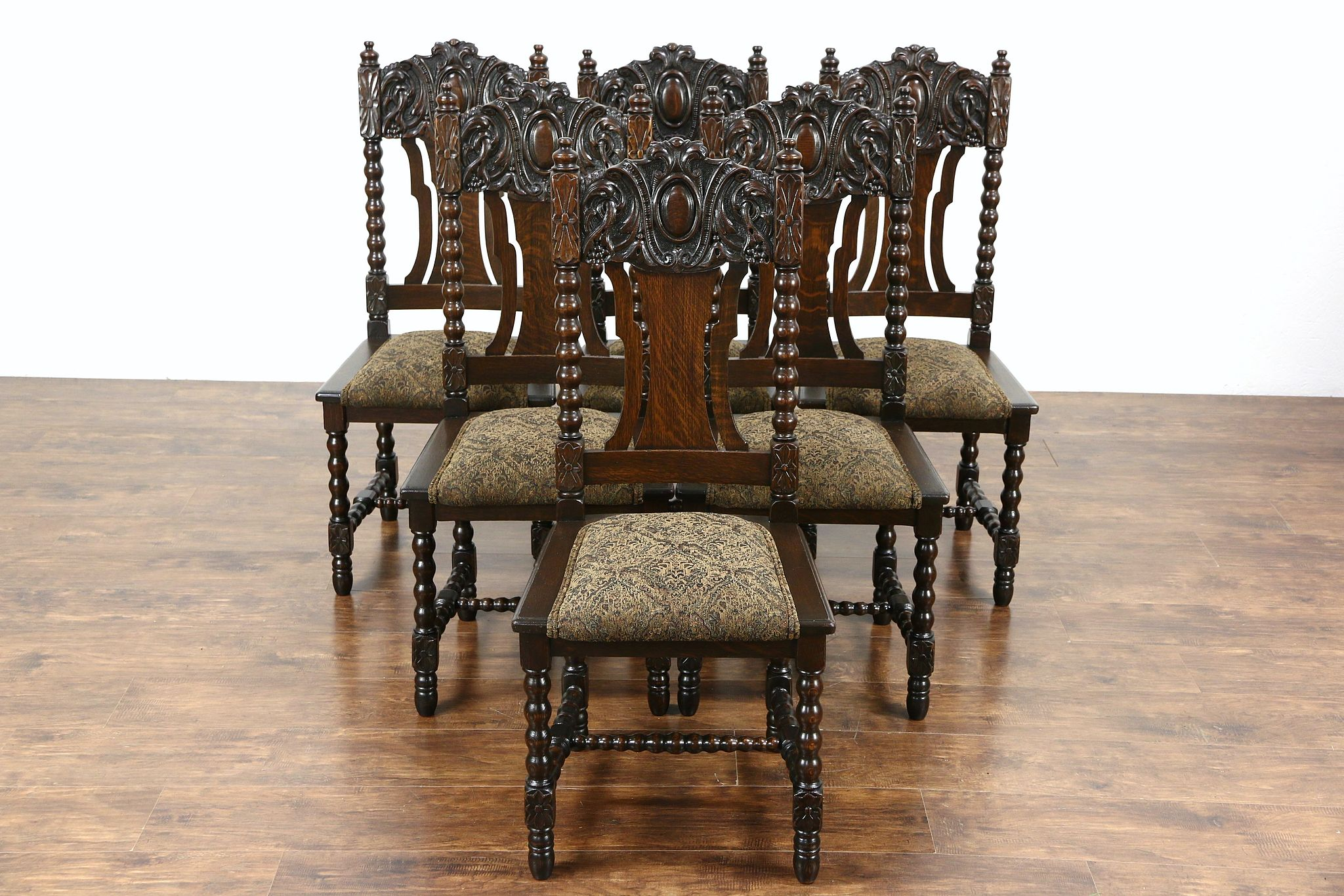 Set Of 6 Oak Carved 1900 Antique Scandinavian Dining Chairs, New Upholstery  ...