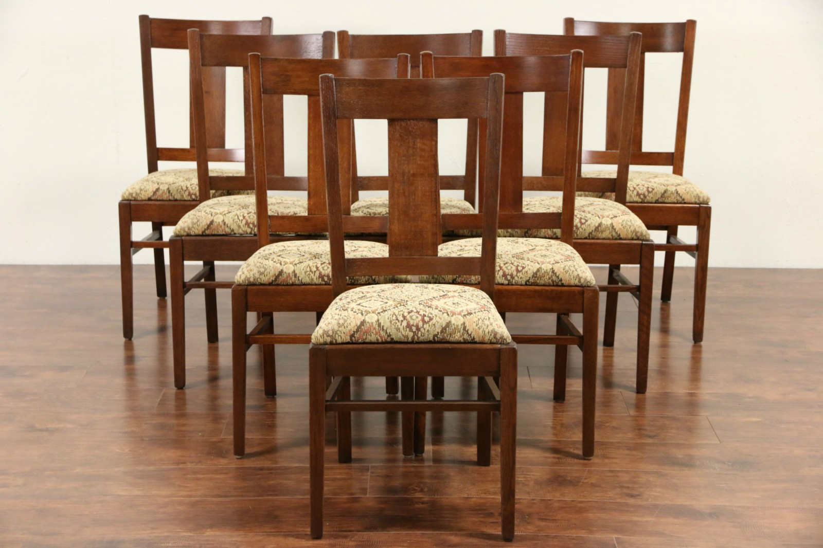 Set Of 8 Arts Crafts Mission Oak 1905 Antique Dining Chairs New Upholstery