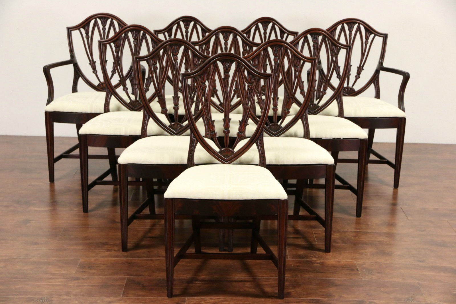 Set Of 10 Shield Back 1940 Vintage Gany Dining Chairs New Upholstery