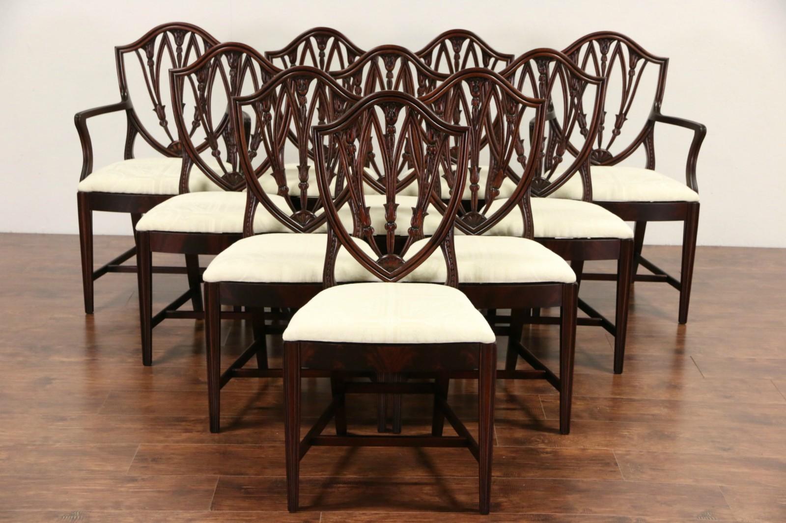 Set of 10 Shield Back 1940 Vintage Mahogany Dining Chairs New Upholstery & SOLD - Set of 10 Shield Back 1940 Vintage Mahogany Dining Chairs ...