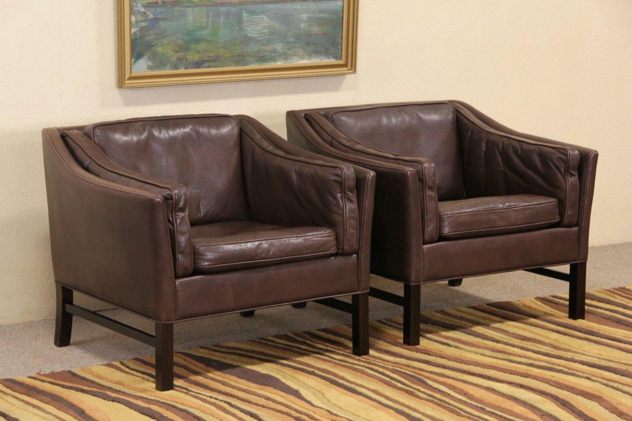 Mid Century Danish Modern Pair 1960's Vintage Leather Chairs - SOLD - Mid Century Danish Modern Pair 1960's Vintage Leather Chairs