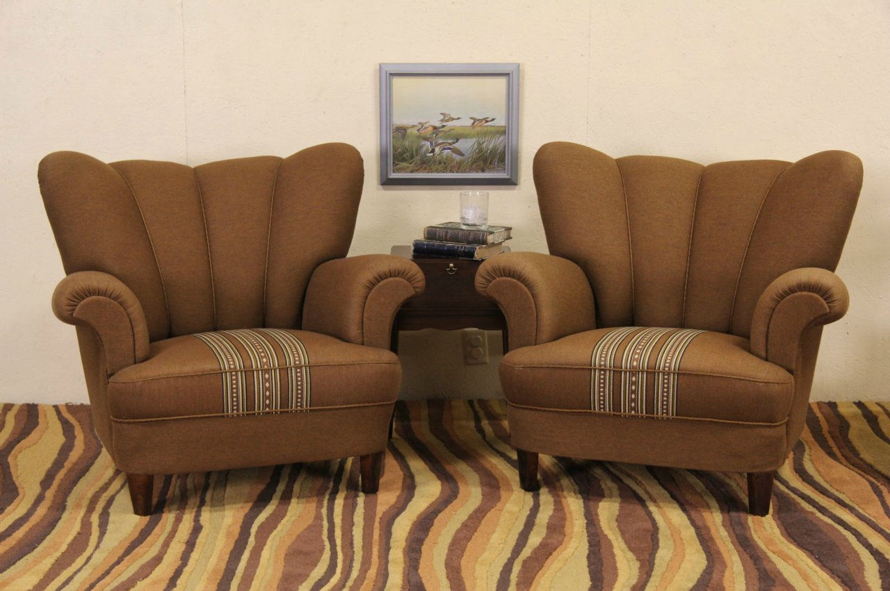 Pair 1940 Vintage Scandinavian Channel Tufted Club Chairs