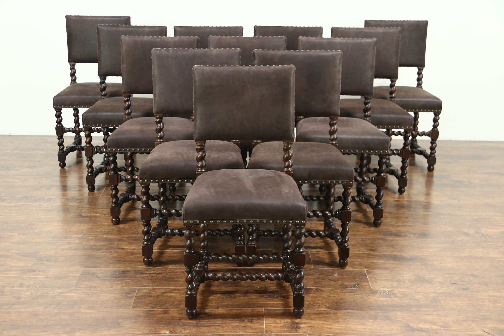Set Of 12 Oak Antique Spiral Leg Spanish Dining Chairs, New Leather  Upholstery ...