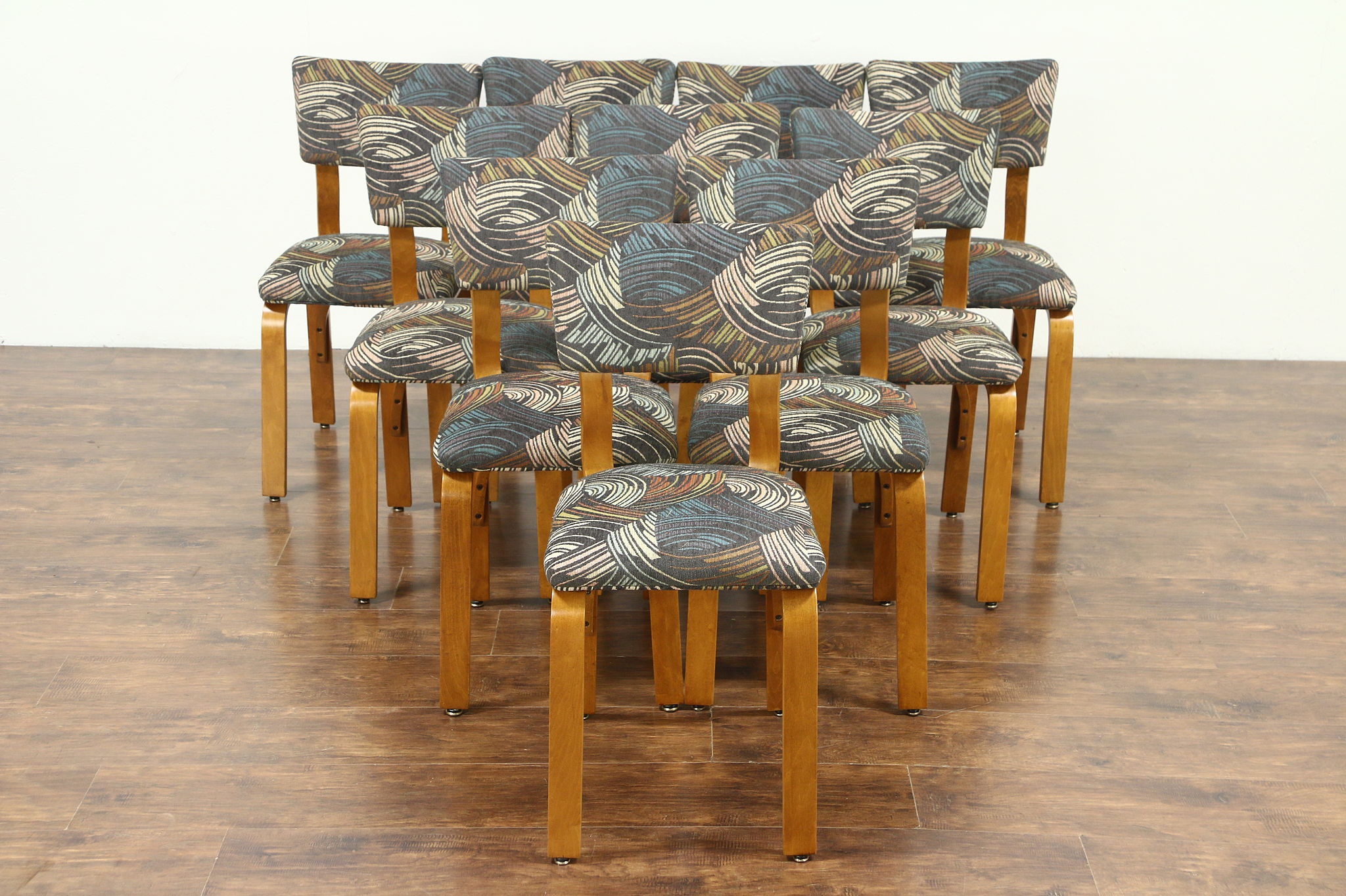 Set Of 10 Midcentury Modern 1950 Vintage Designer Dining Chairs, New  Upholstery Photo