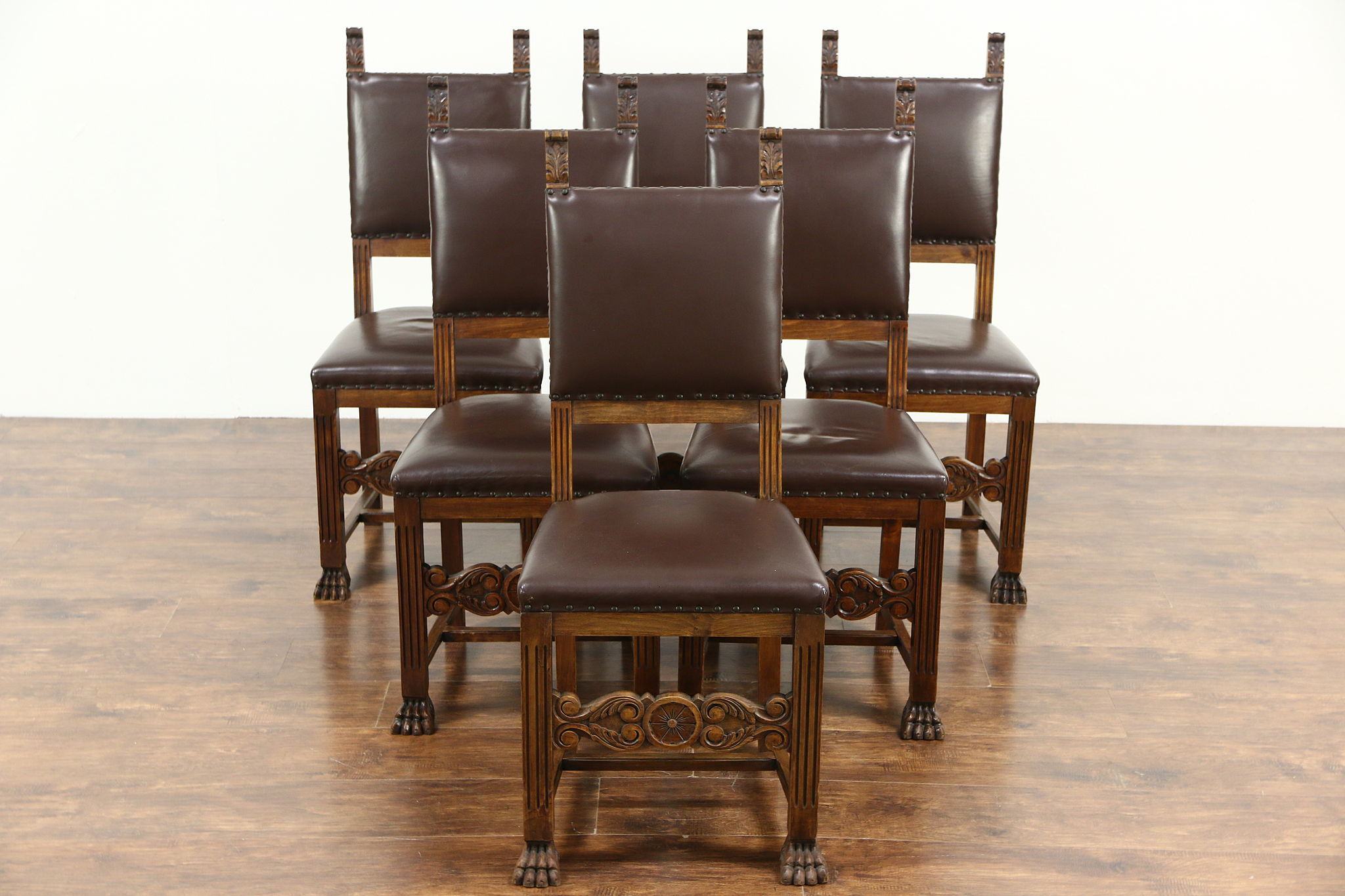 Italian Renaissance 1900 Antique Set Of 6 Dining Chairs Leather Upholstery Photo