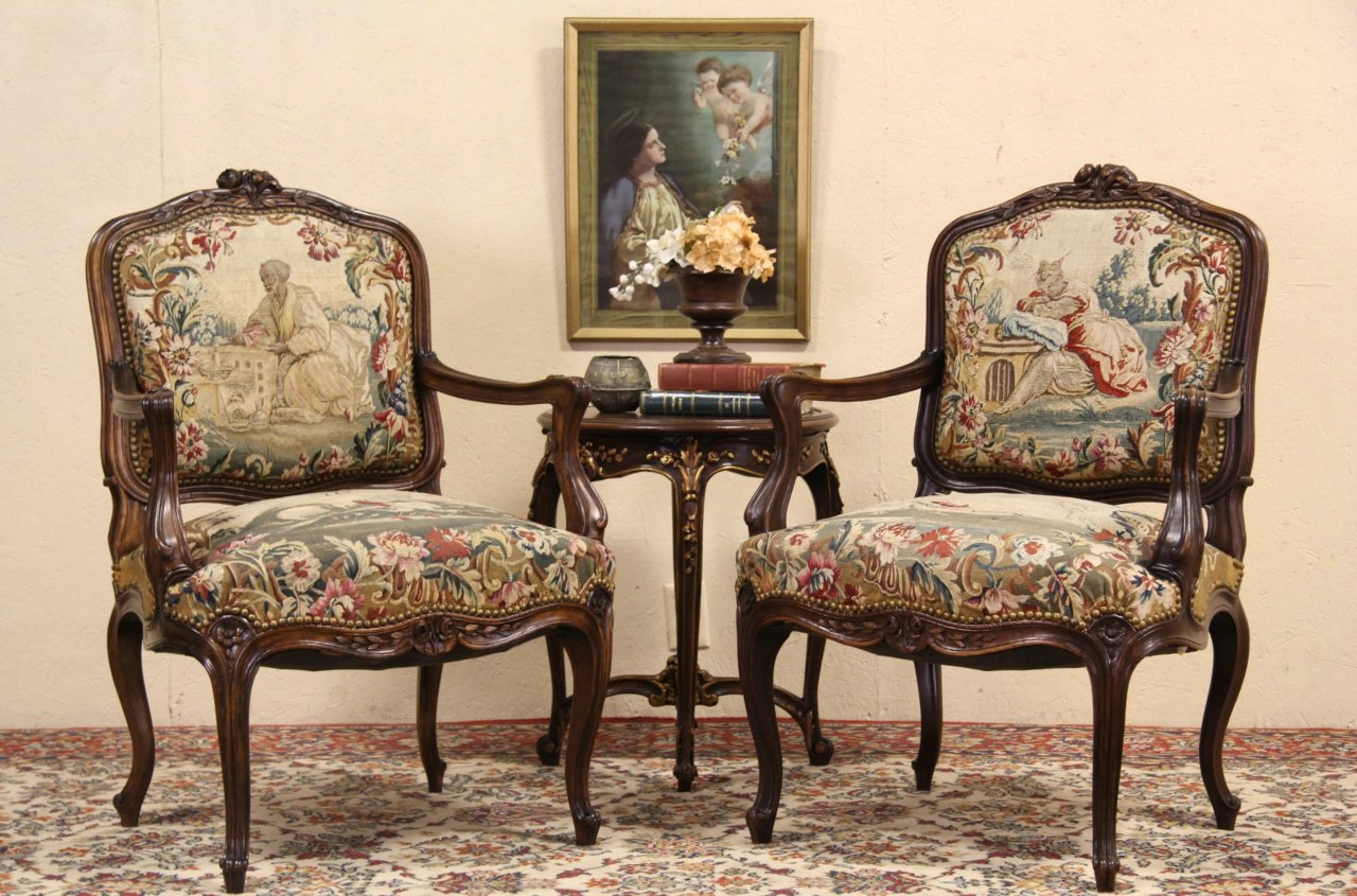 Pair of Antique 1900 Carved French Chairs, Original Tapestry - SOLD - Pair Of Antique 1900 Carved French Chairs, Original Tapestry
