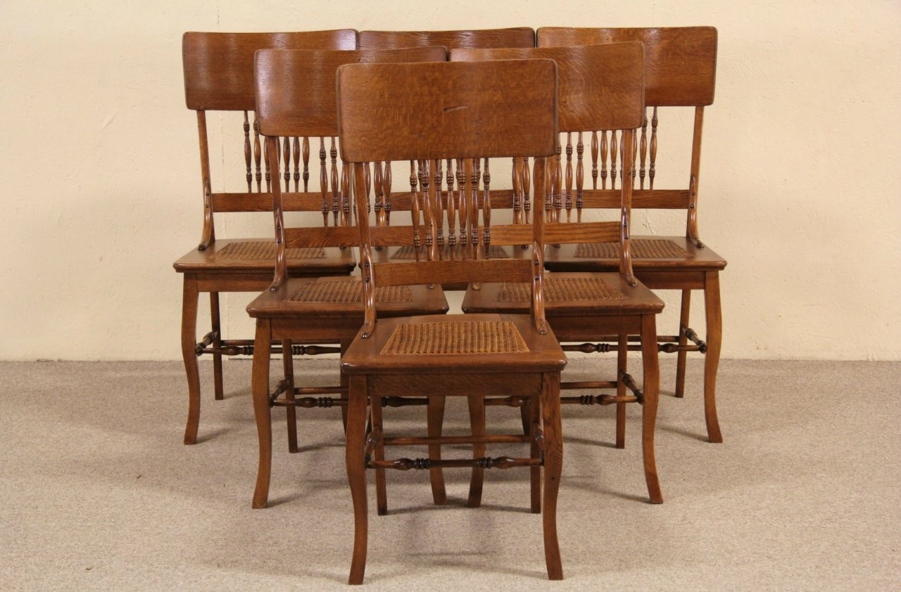 Set of 6 Oak 1900 Antique Dining Chairs, Cane Seats - SOLD - Set Of 6 Oak 1900 Antique Dining Chairs, Cane Seats - Harp