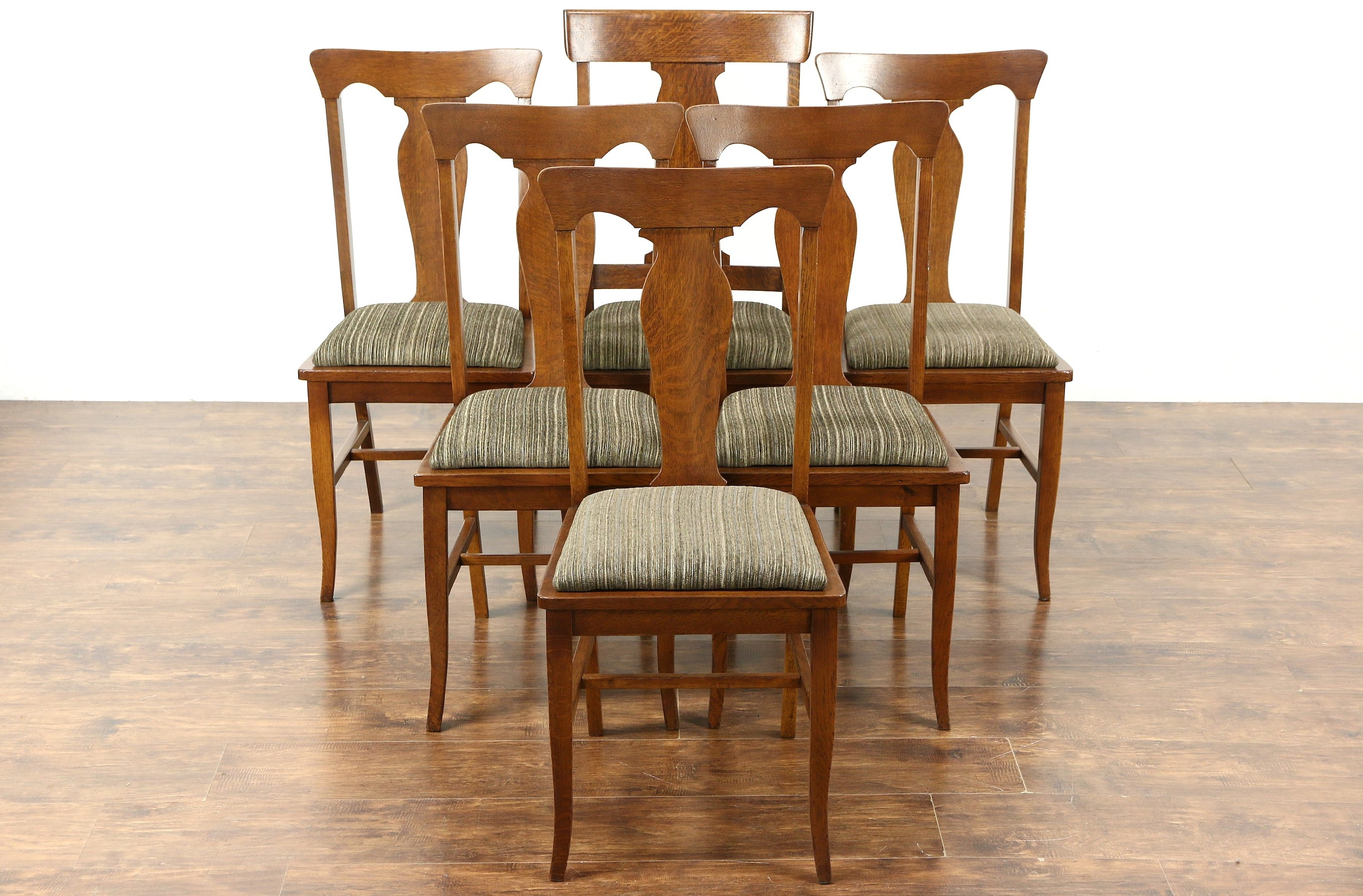 Set of 6 Quarter Sawn Oak Antique 1905 Dining Chairs New