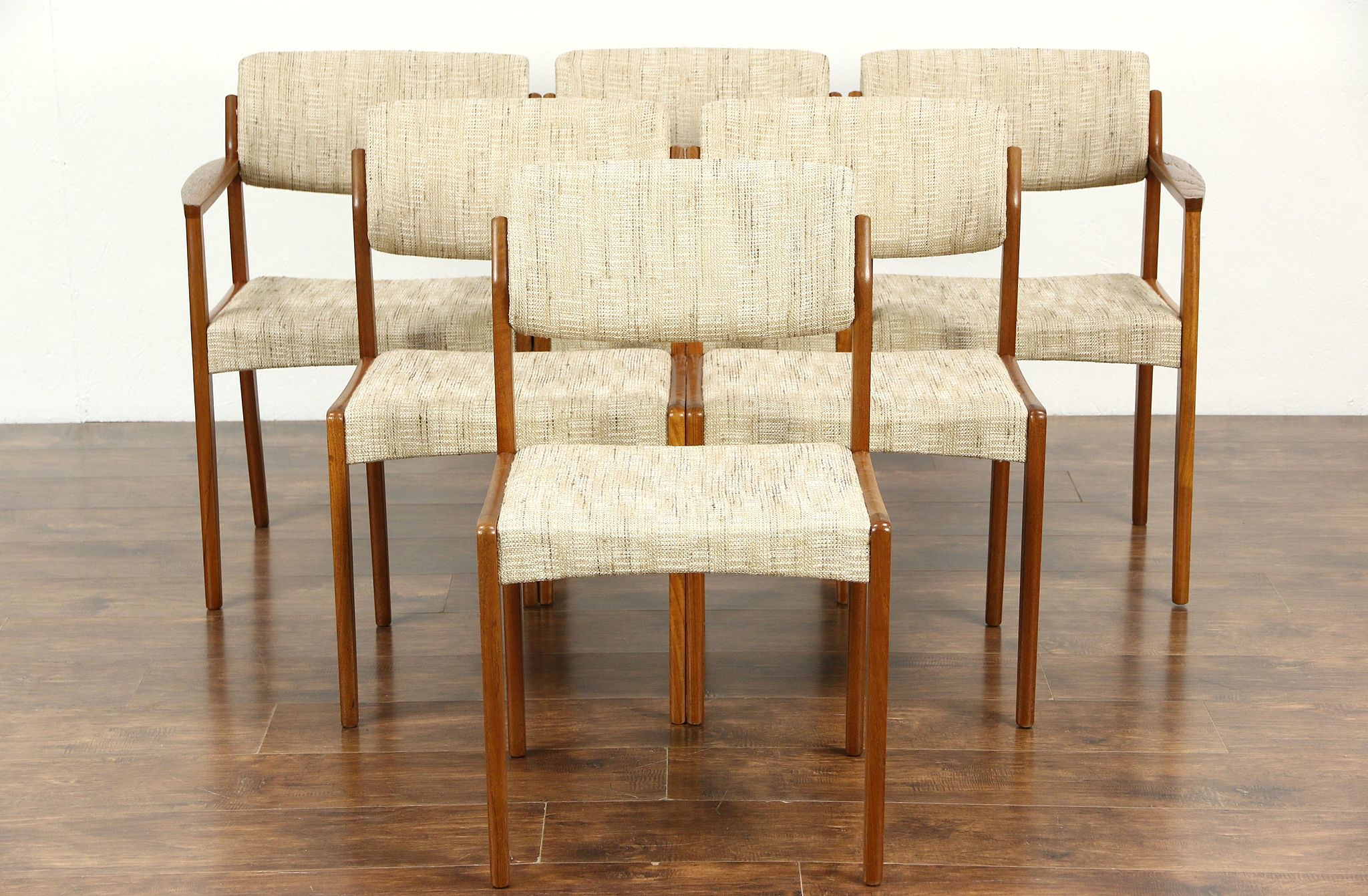 Sold Set Of 6 Midcentury Danish Modern Teak Dining Chairs Signed Bramin Denmark Harp Gallery Antiques Furniture