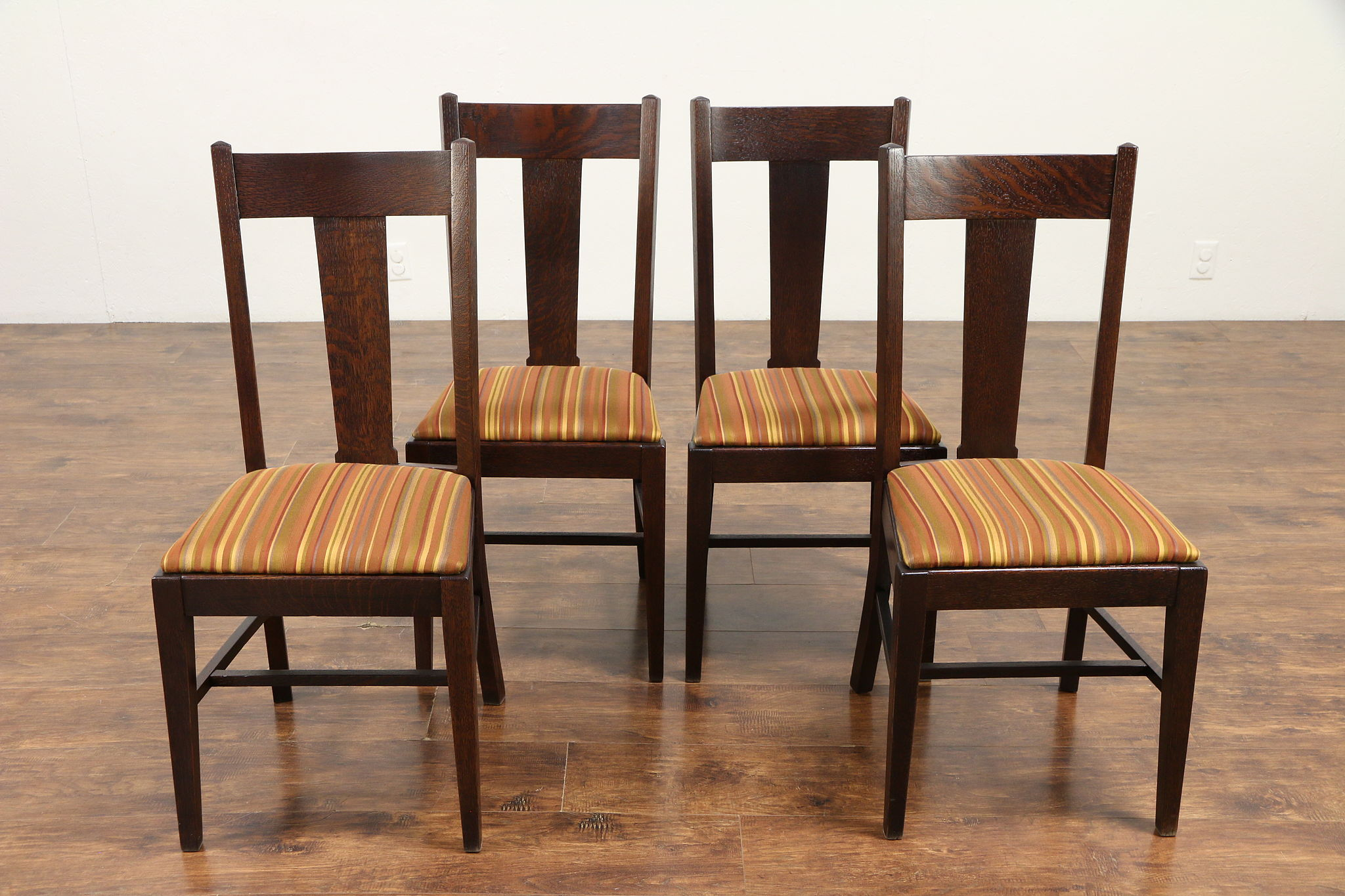 Pleasant Set 4 Arts Crafts Mission Oak Antique Craftsman Dining Chairs Striped 30569 Short Links Chair Design For Home Short Linksinfo