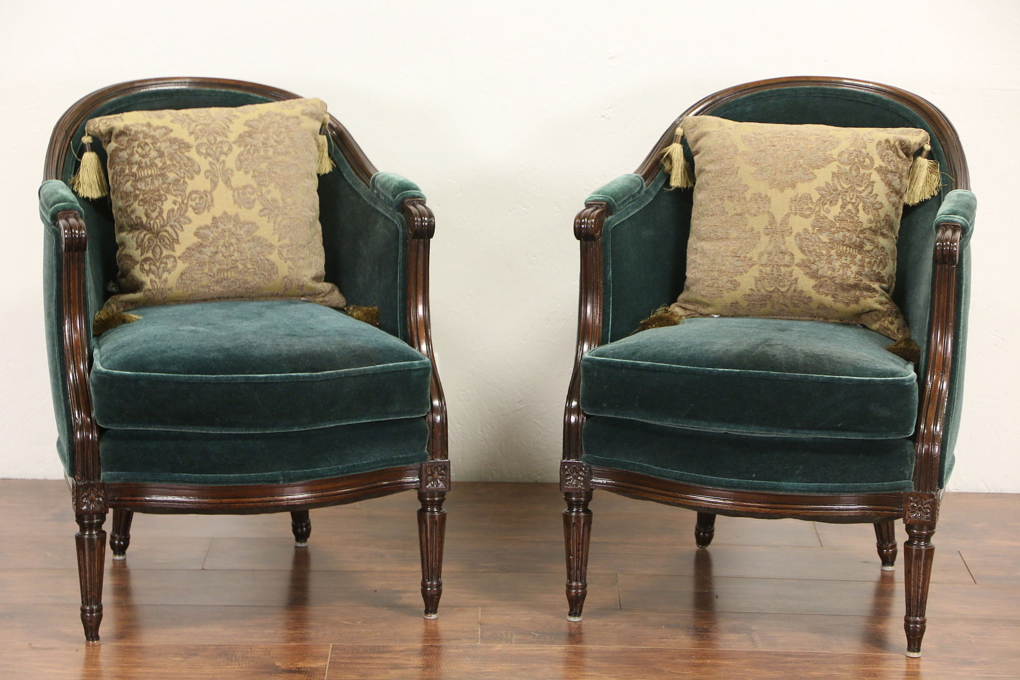 1930u0027s Pair Vintage Carved Country French Chairs, Recent Mohair Upholstery
