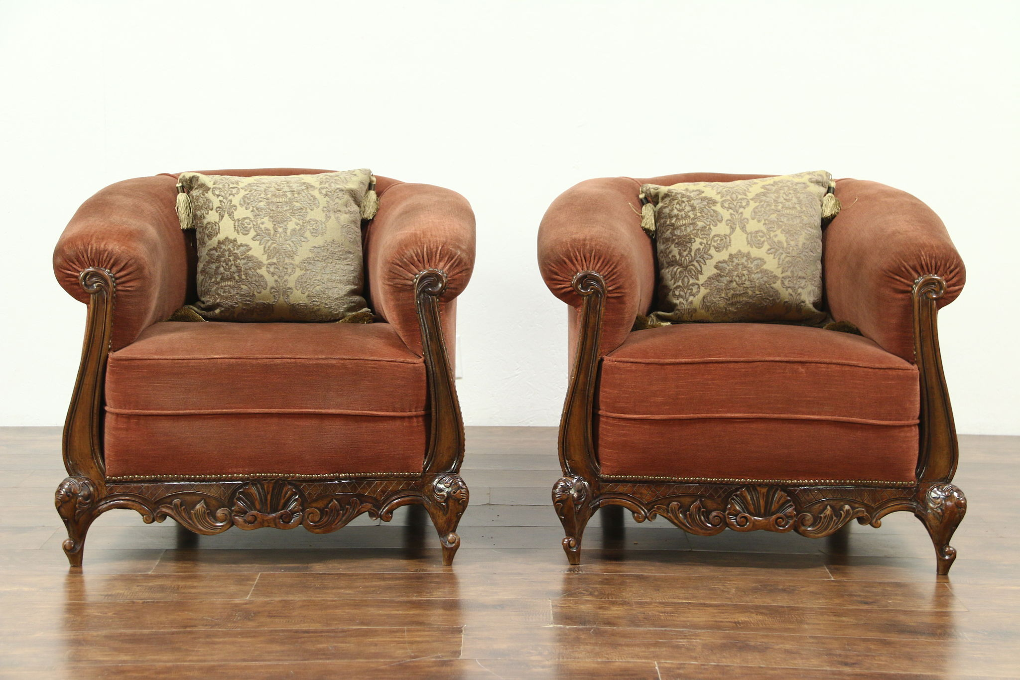 Pair of Antique 1915 Velvet Club Chairs ... : antique club chairs - Cheerinfomania.Com
