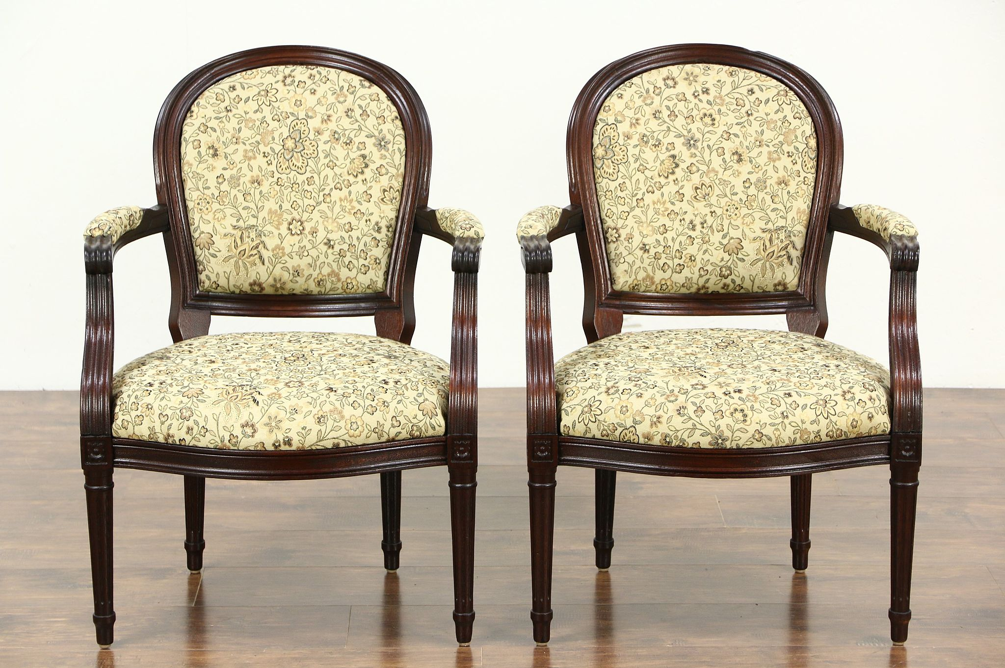 pair carved mahogany french style vintage mahogany chairs new upholstery