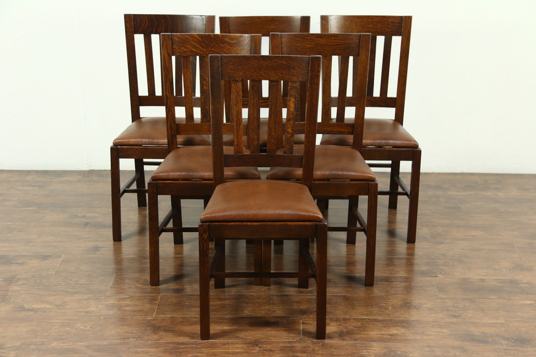 Set Of 6 Arts U0026 Crafts Mission Oak Antique Craftsman Dining Chairs, New  Leather