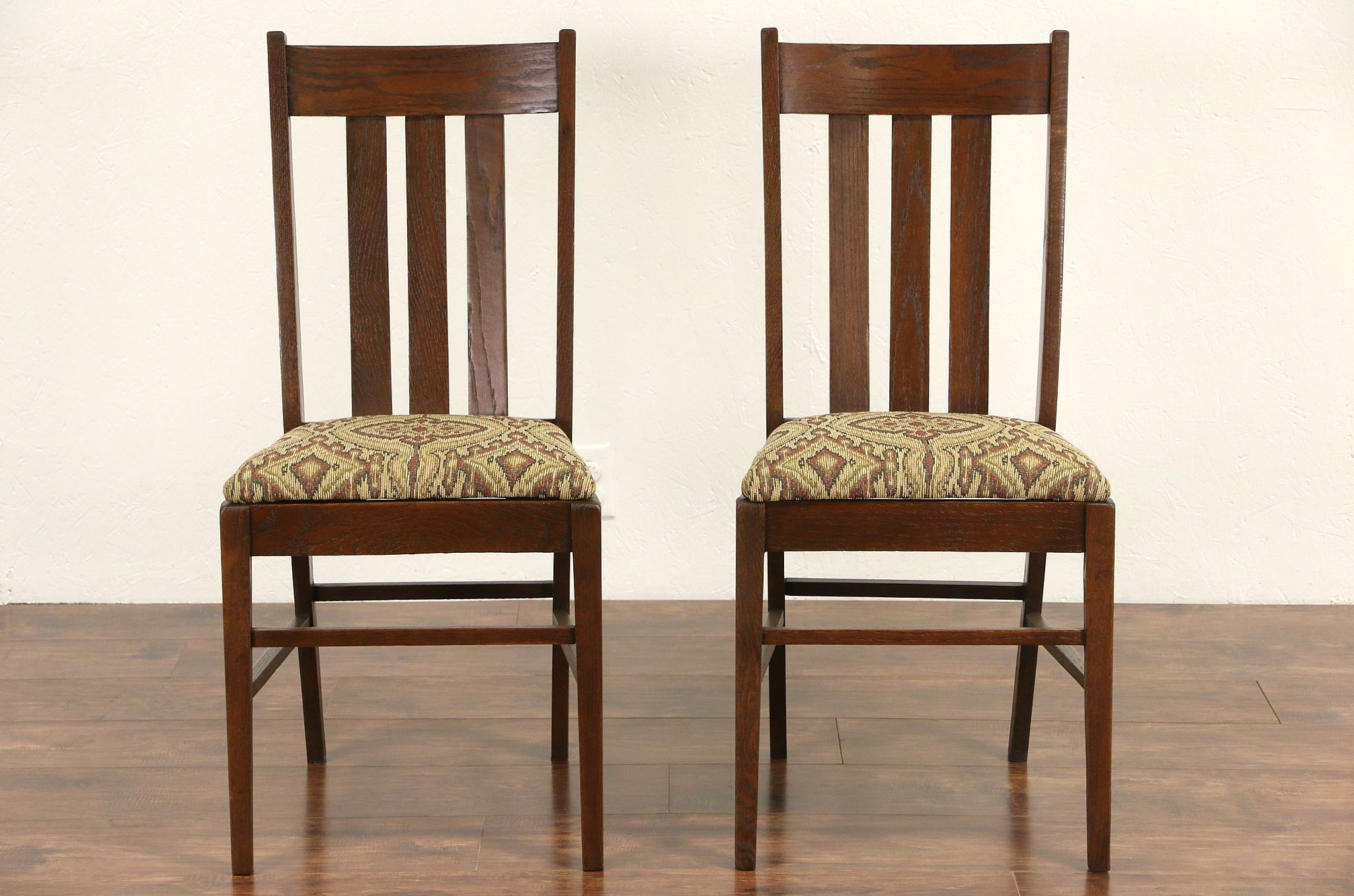 sold pair of arts crafts mission oak dining or side