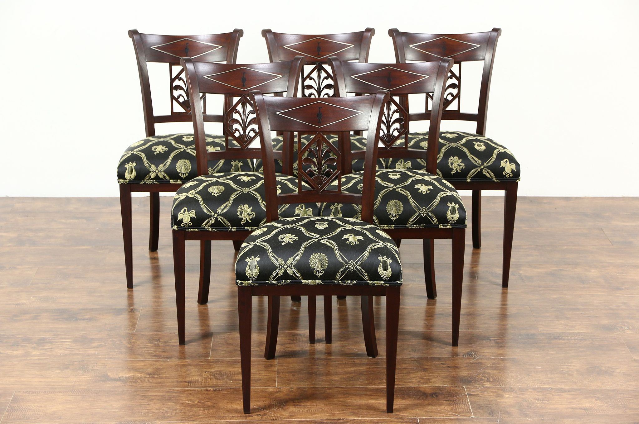 Set 6 French Empire 1820u0027s Antique Dining Chairs, New Upholstery, Signed  Chapuis