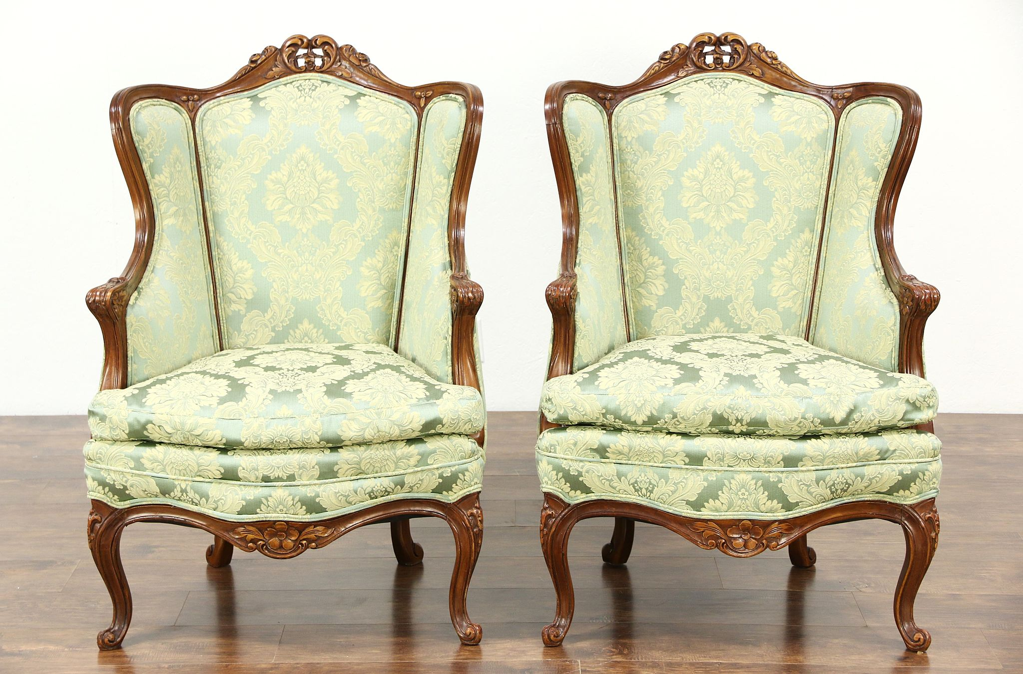 pair of carved 1940u0027s vintage wing chairs down cushions new upholstery