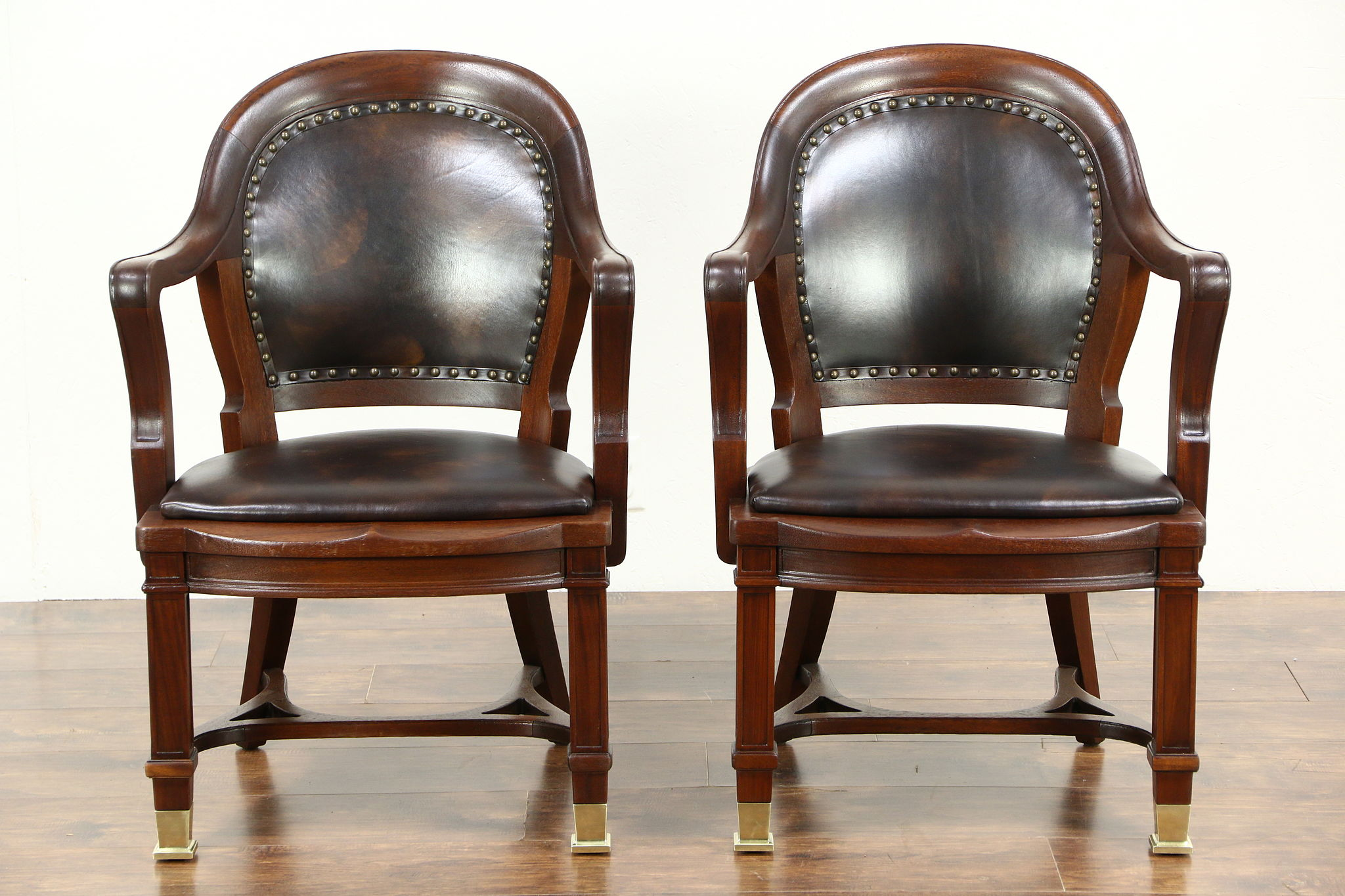 Pair 1910 Antique Carved Mahogany Executive or Library Chairs   SOLD   Pair 1910 Antique Carved Mahogany Executive or Library  . Antique Library Armchairs. Home Design Ideas