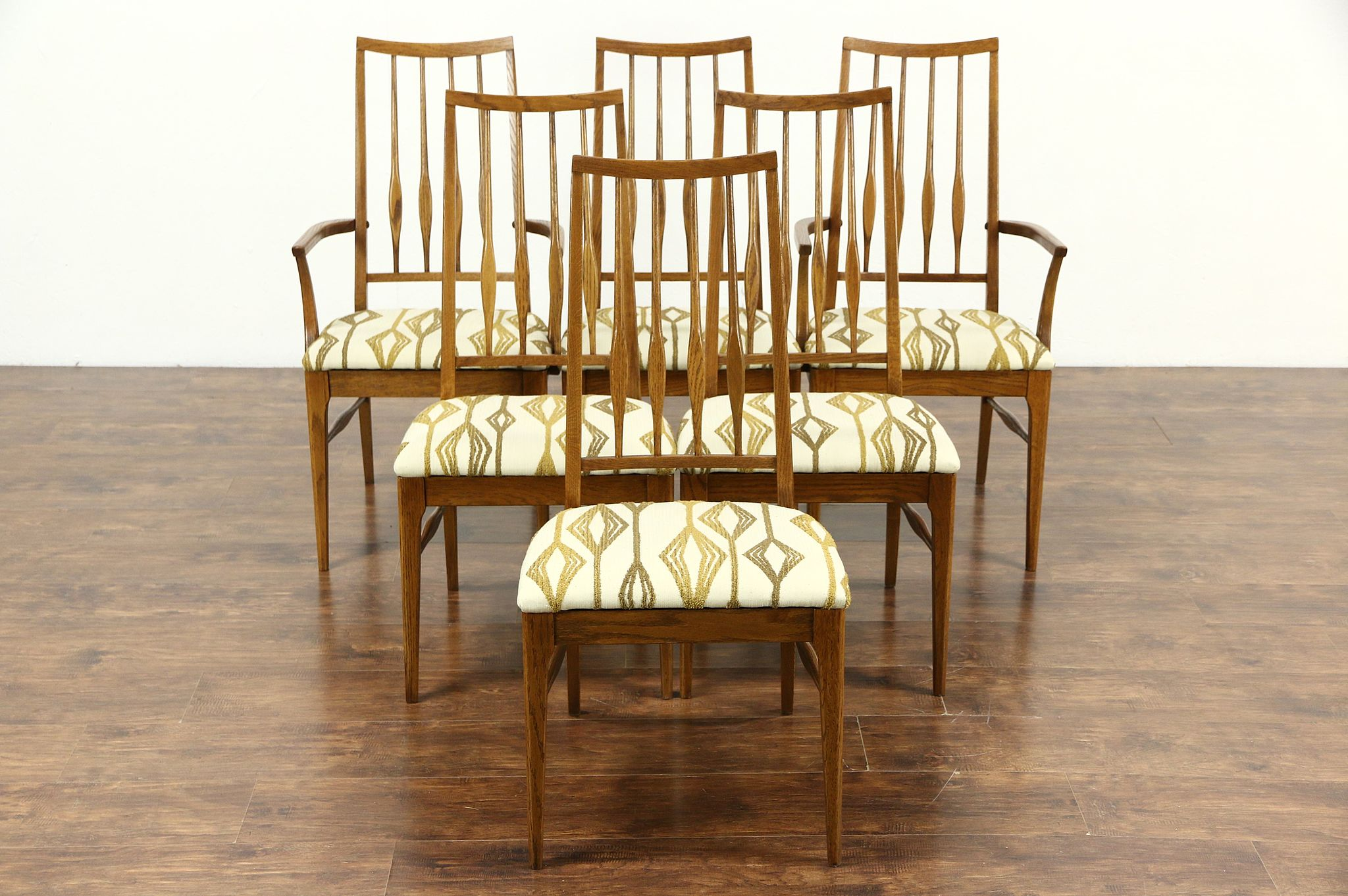 Midcentury modern set of 6 oak 1960 vintage dining chairs for Retro modern dining chairs