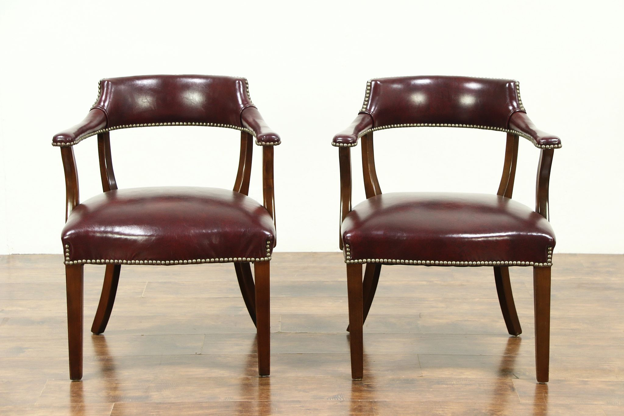 Sold Pair Of Bank Of London Vintage Library Or Office Chairs Faux