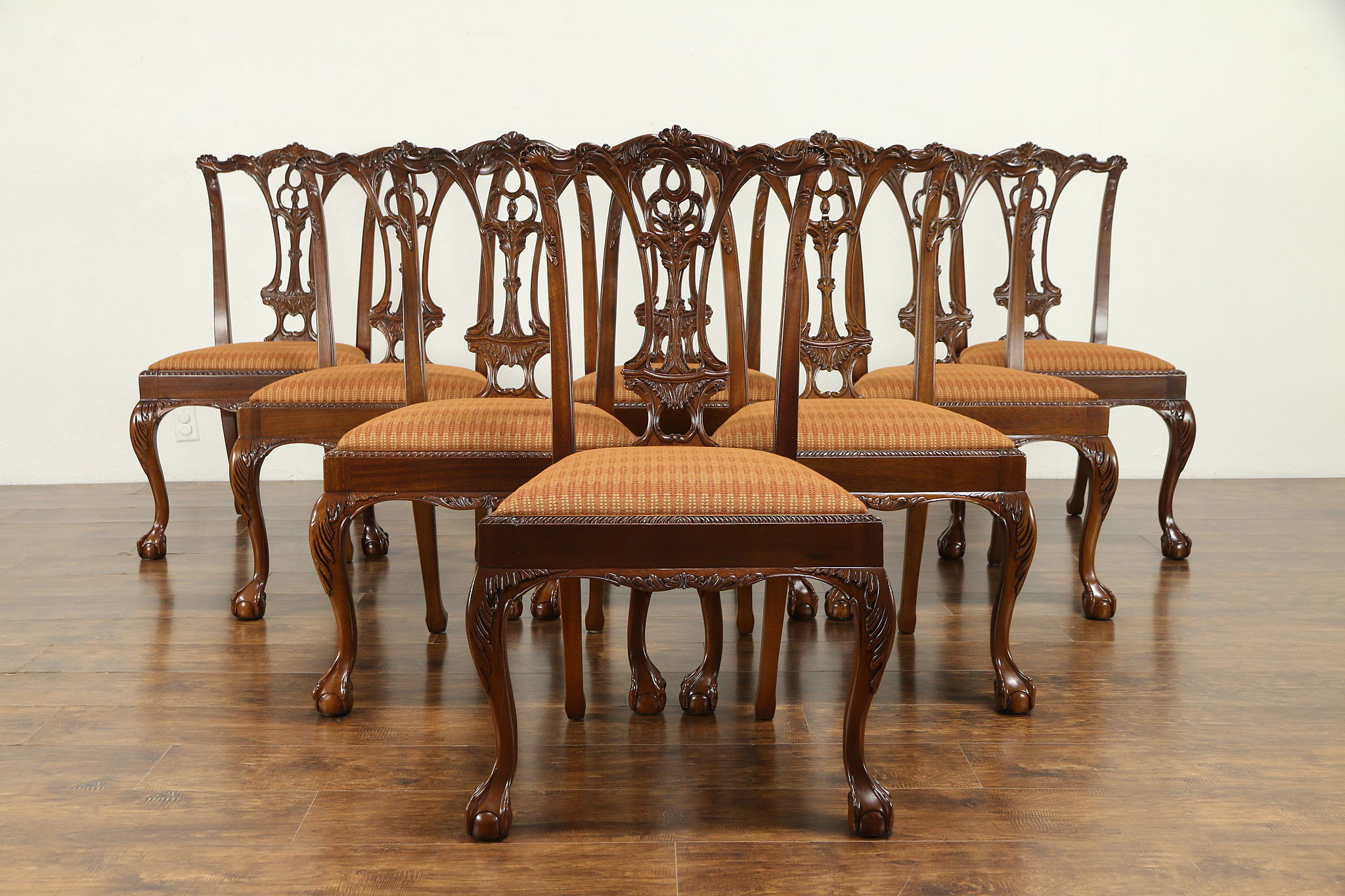 Set of 8 Georgian Style Carved Mahogany Vintage Dining Chairs #30929