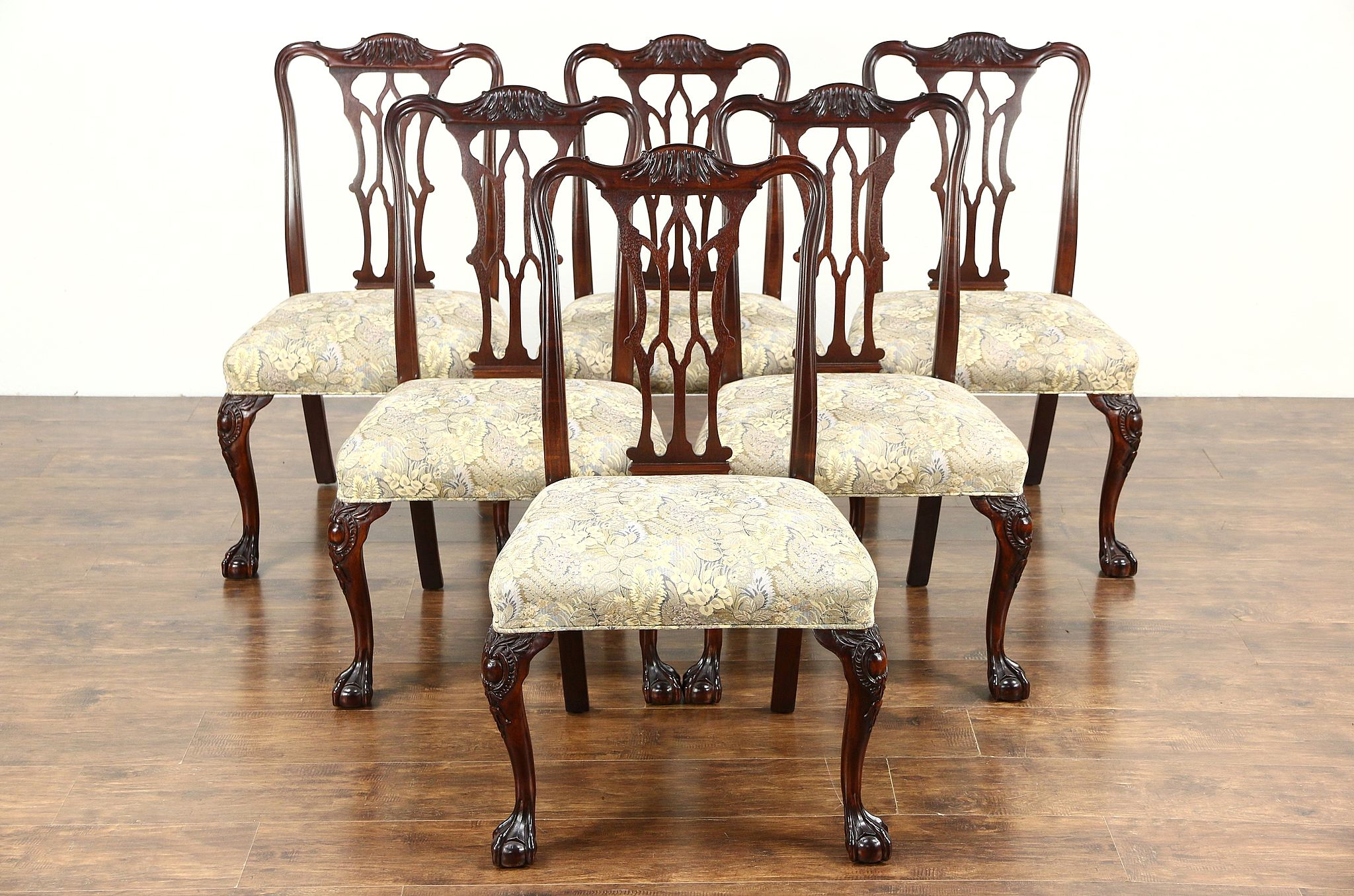 Antique wooden dining chair - Set Of 6 Georgian Chippendale 1930 Vintage Dining Chairs Recent Upholstery