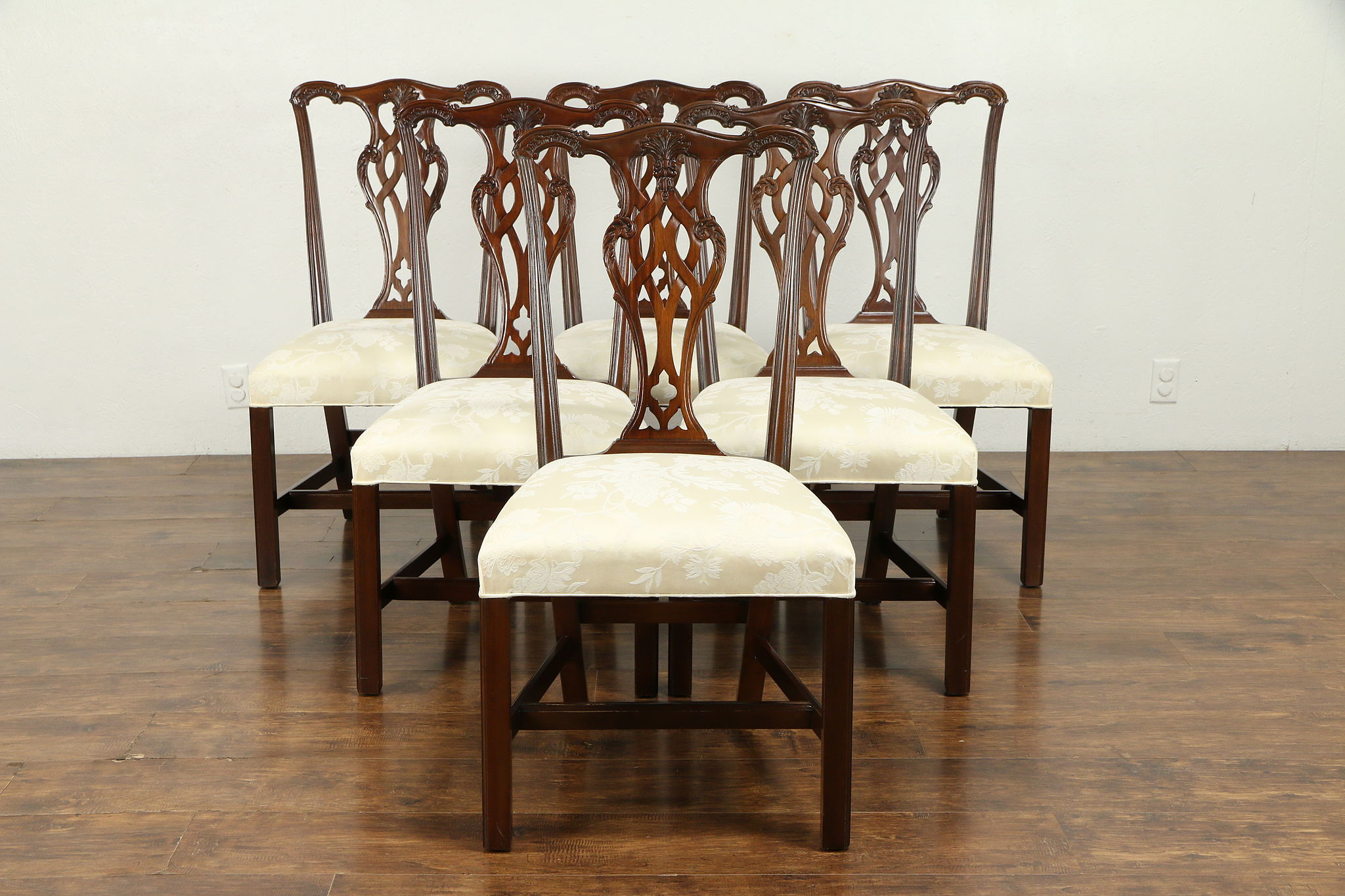 Georgian Style Set of 9 Vintage Mahogany Dining Chairs, Ethan Allen 30998