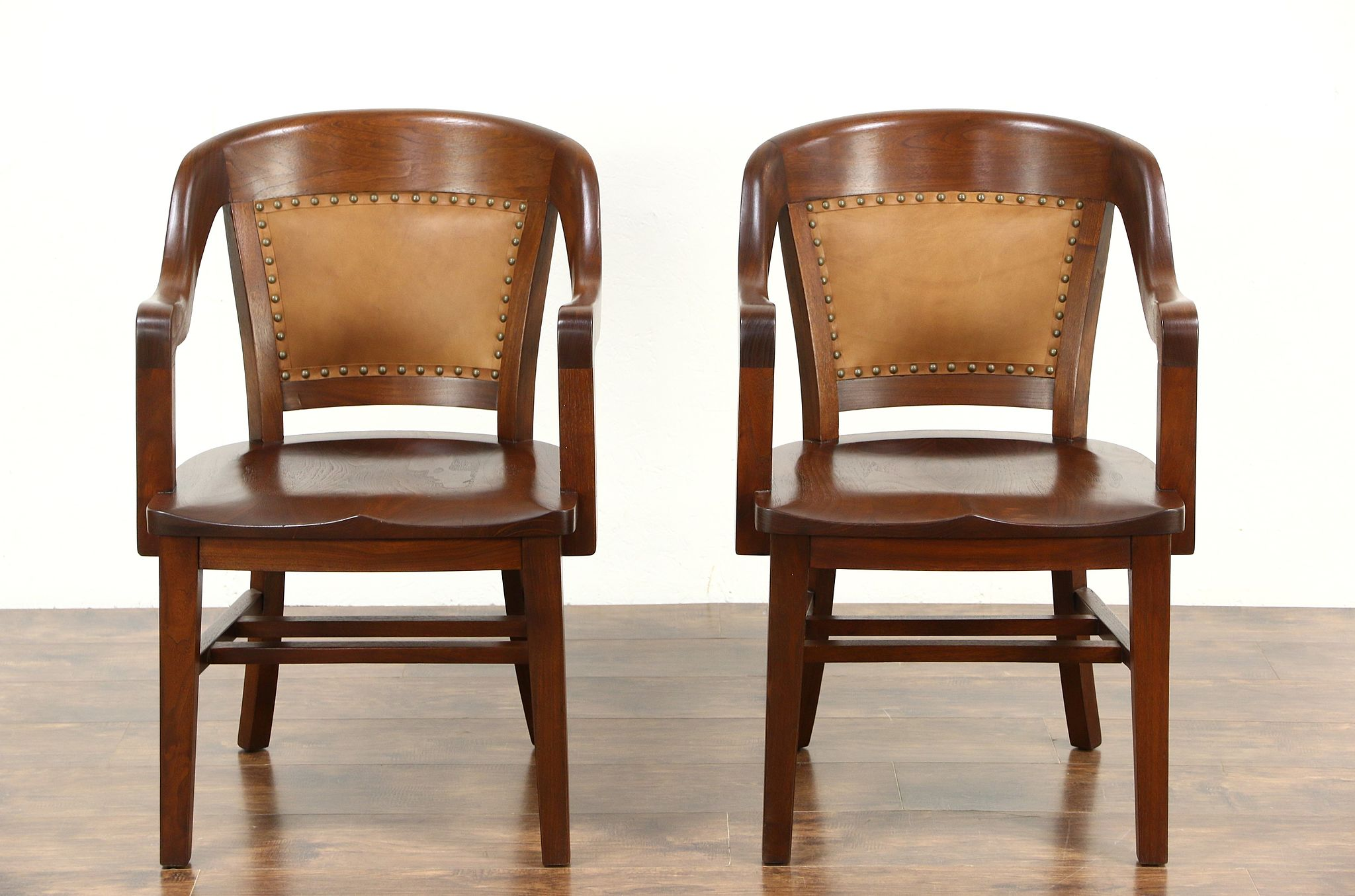 Pair Antique Banker Library Or Office Chairs, Leather, Signed Northwestern  ...
