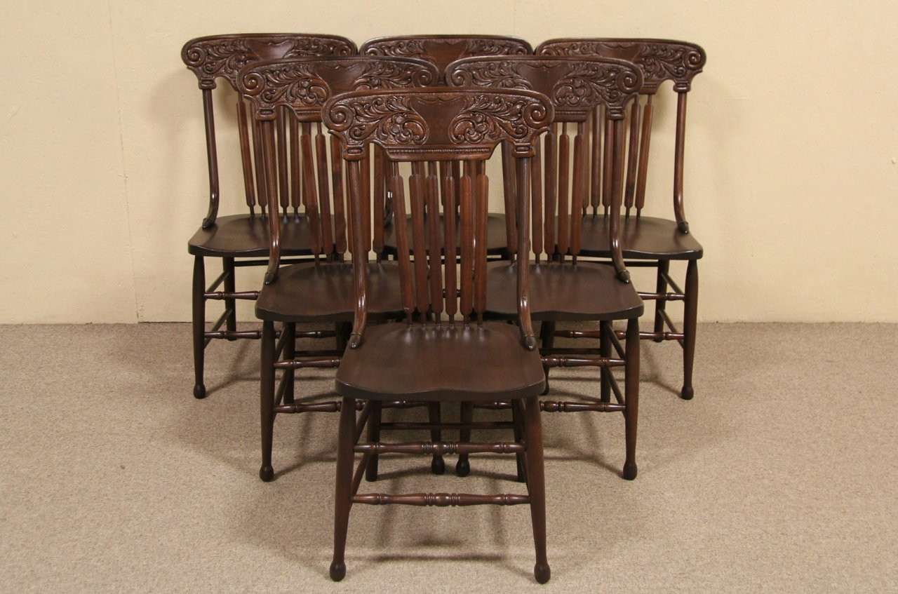 Set of 6 Victorian 1900 Antique Press Back Dining Chairs - SOLD - Set Of 6 Victorian 1900 Antique Press Back Dining Chairs