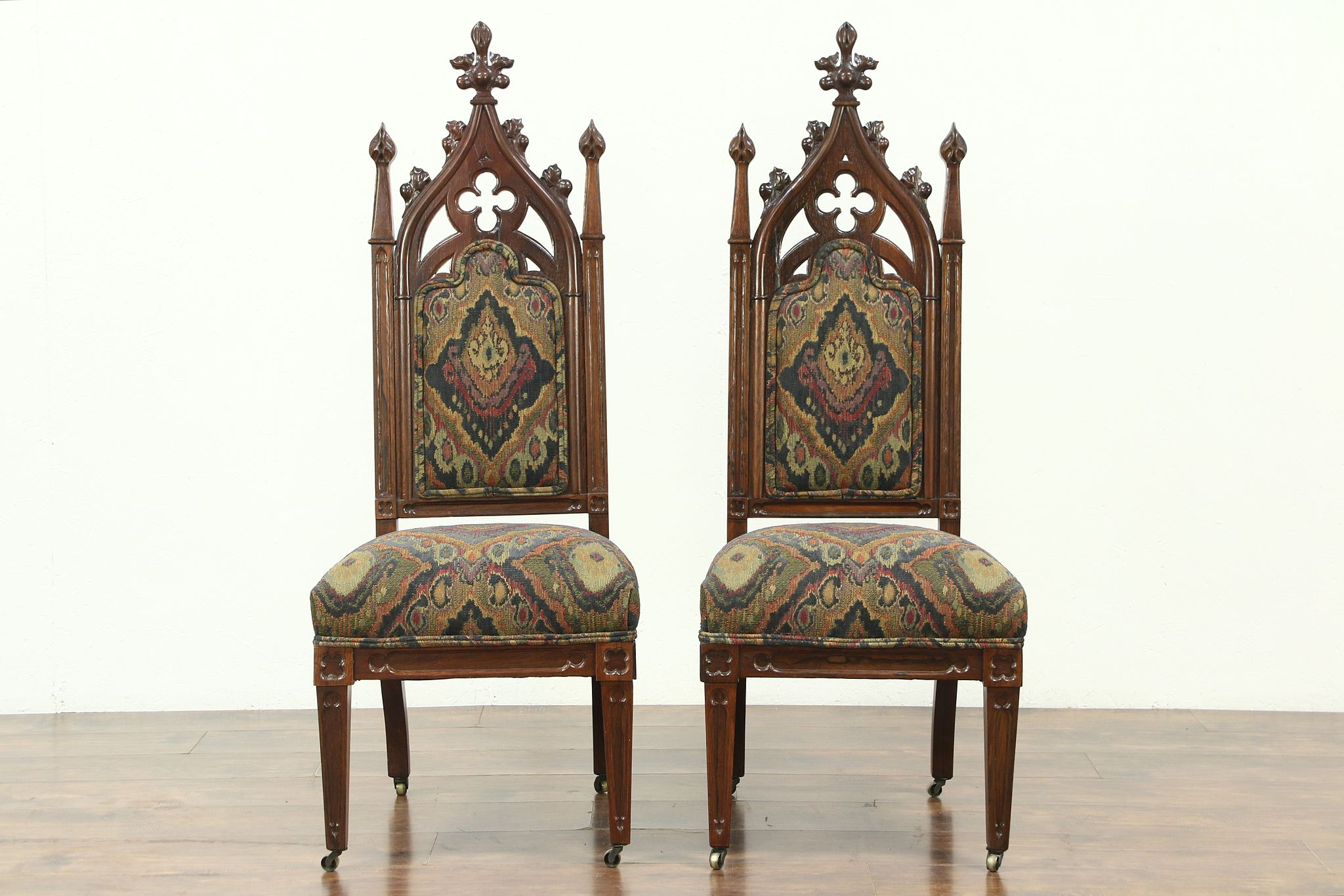 Sold Victorian Gothic Pair Of Antique 1850 S Rosewood Chairs New