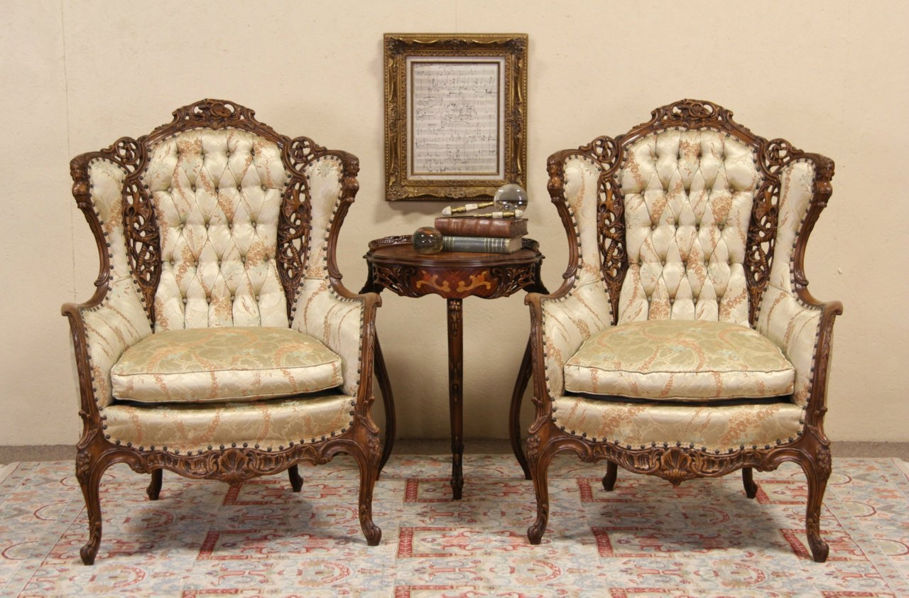 Antique wing chair - French Style Pair Of 1940 S Vintage Music Room Wing Chairs