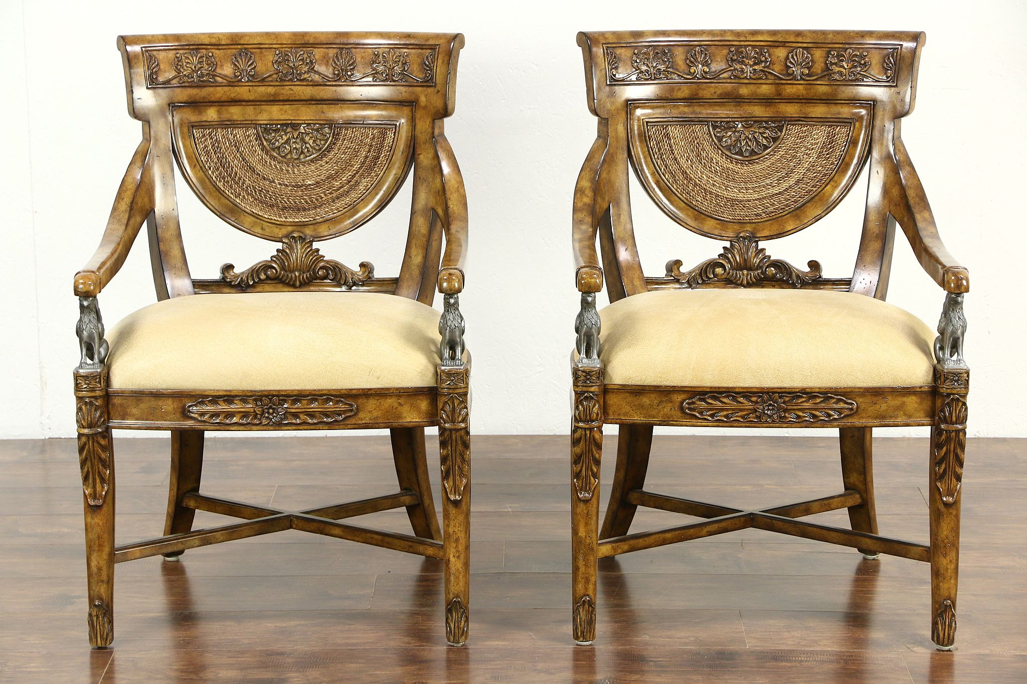 sold maitland smith signed pair of carved classical chairs