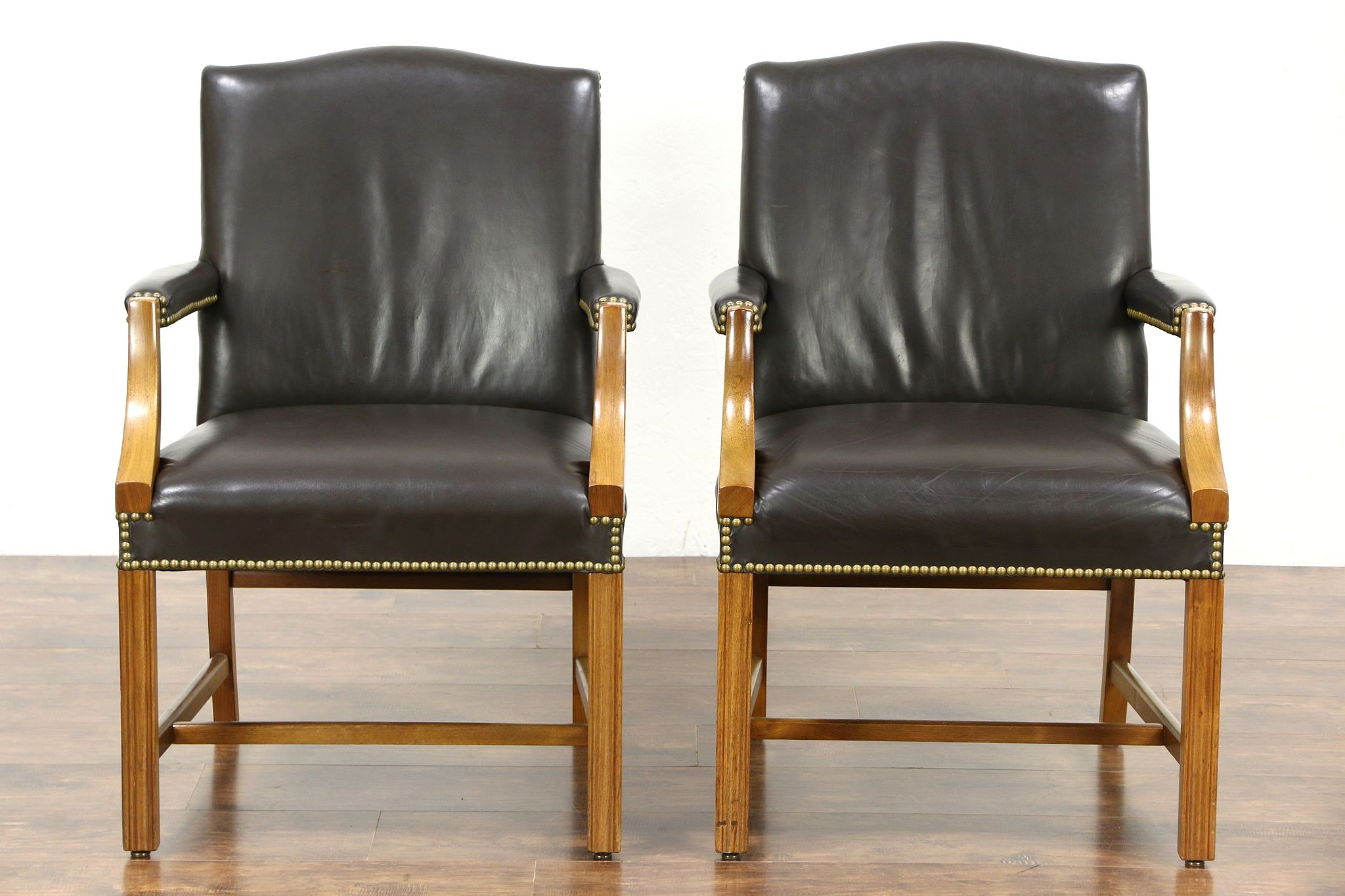 Pair Of Vintage Leather Library Or Office Chairs With Arms Signed Taylor