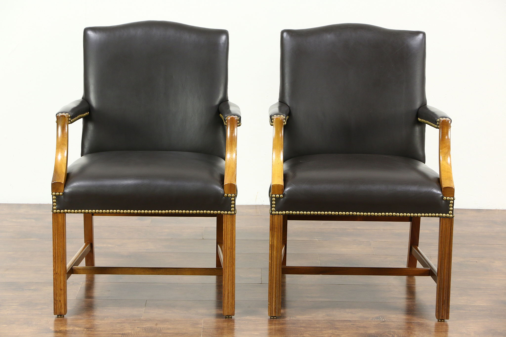 Sold Pair Of Vintage Leather Office