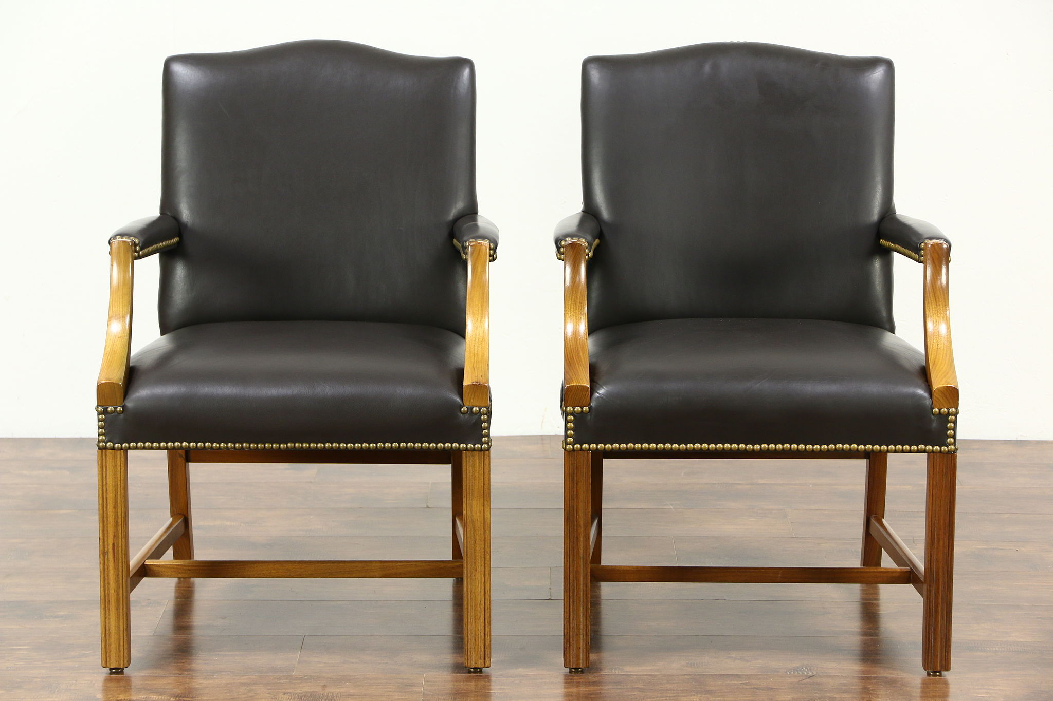 Charming Pair Of Leather Vintage Office Or Library Chairs With Arms, Signed Taylor