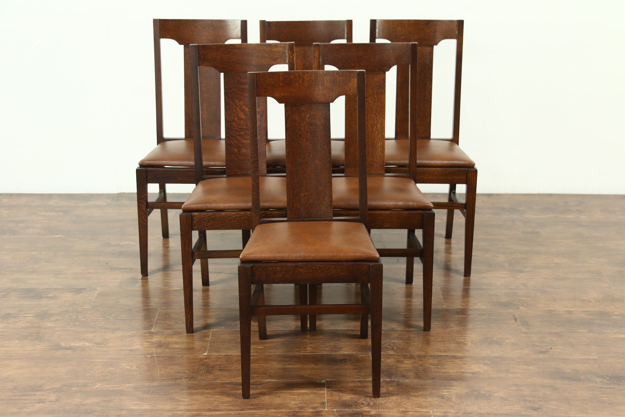Set 6 Arts u0026 Crafts Mission Oak Antique Craftsman Dining Chairs Leather #28678 ... : oak antique chairs - Cheerinfomania.Com